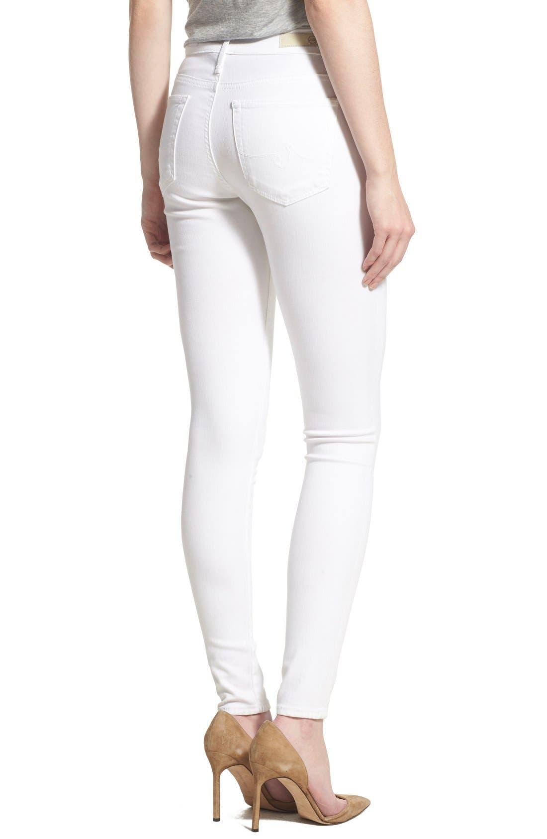 Farrah High Waist Skinny Jeans,                             Alternate thumbnail 5, color,                             WHITE
