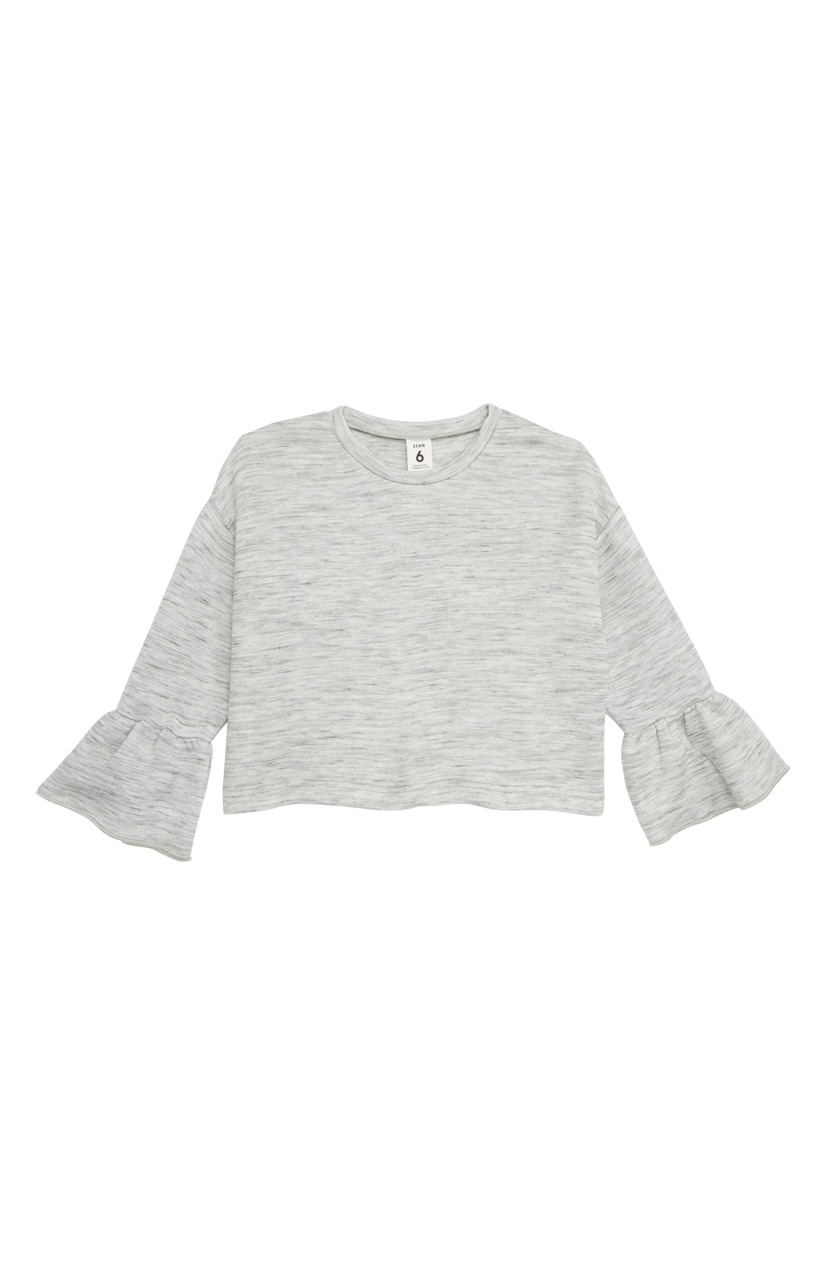Ruffle Sleeve Sweatshirt,                         Main,                         color, 050