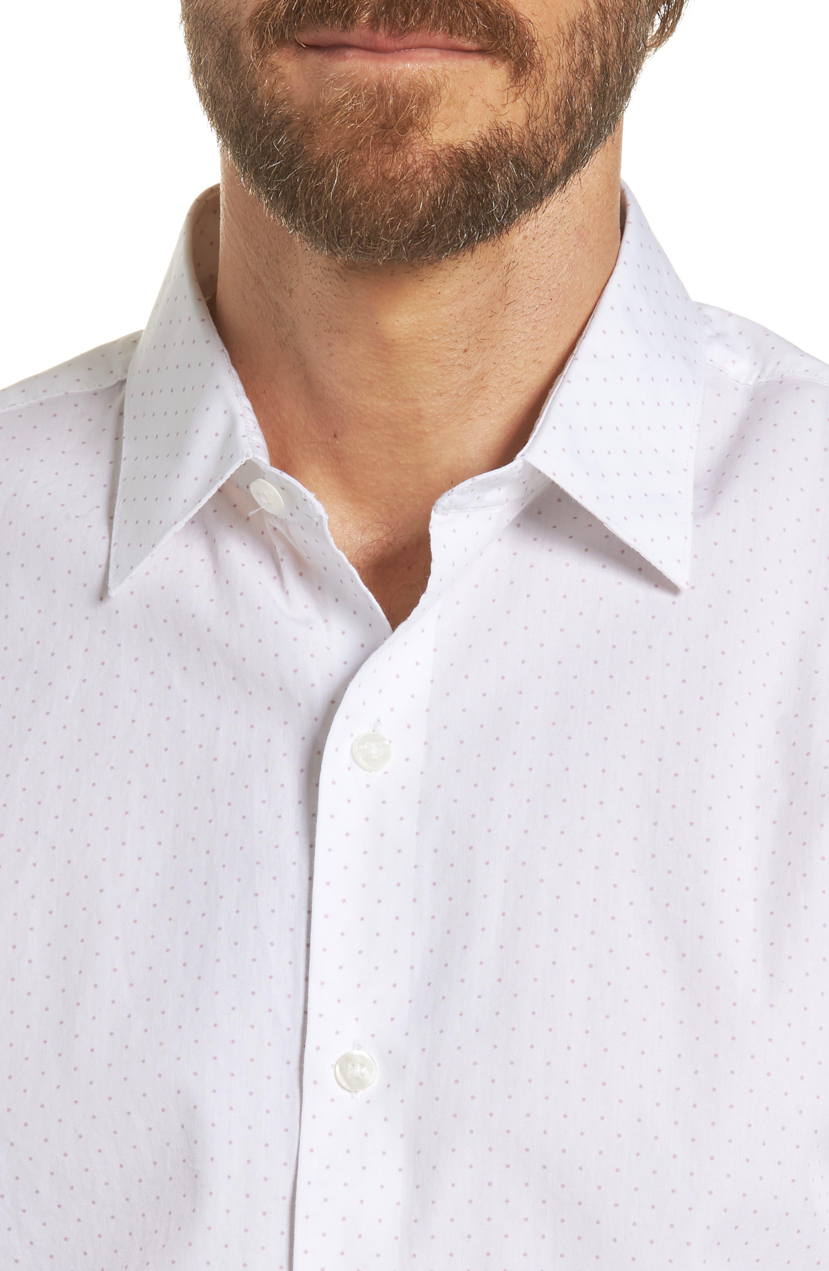 Unbutton Down Slim Fit Dot Sport Shirt,                             Alternate thumbnail 4, color,                             100