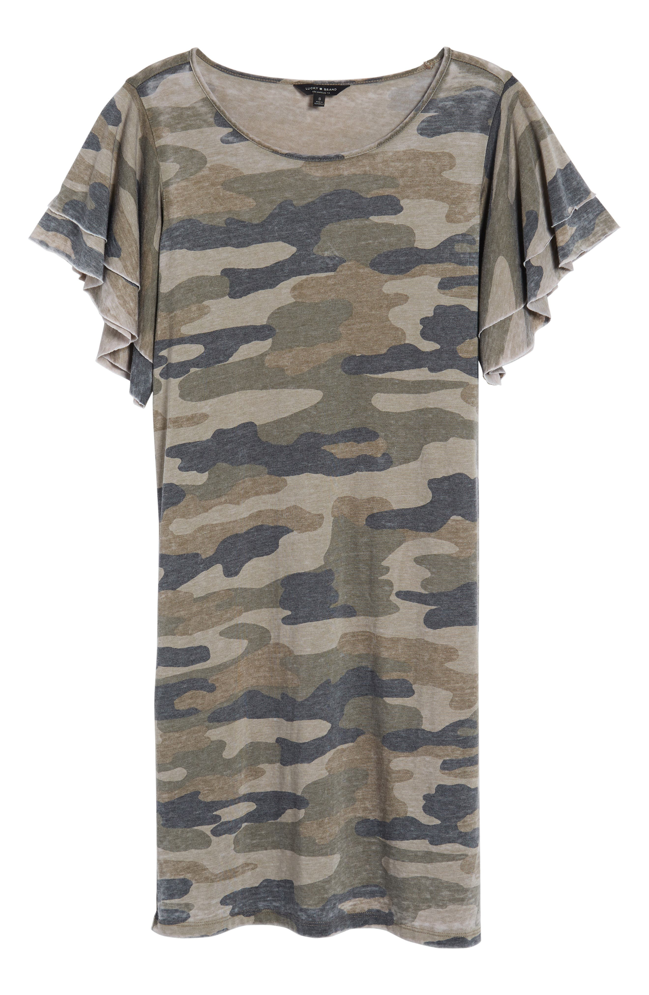Camo Print Dress,                             Alternate thumbnail 7, color,                             310