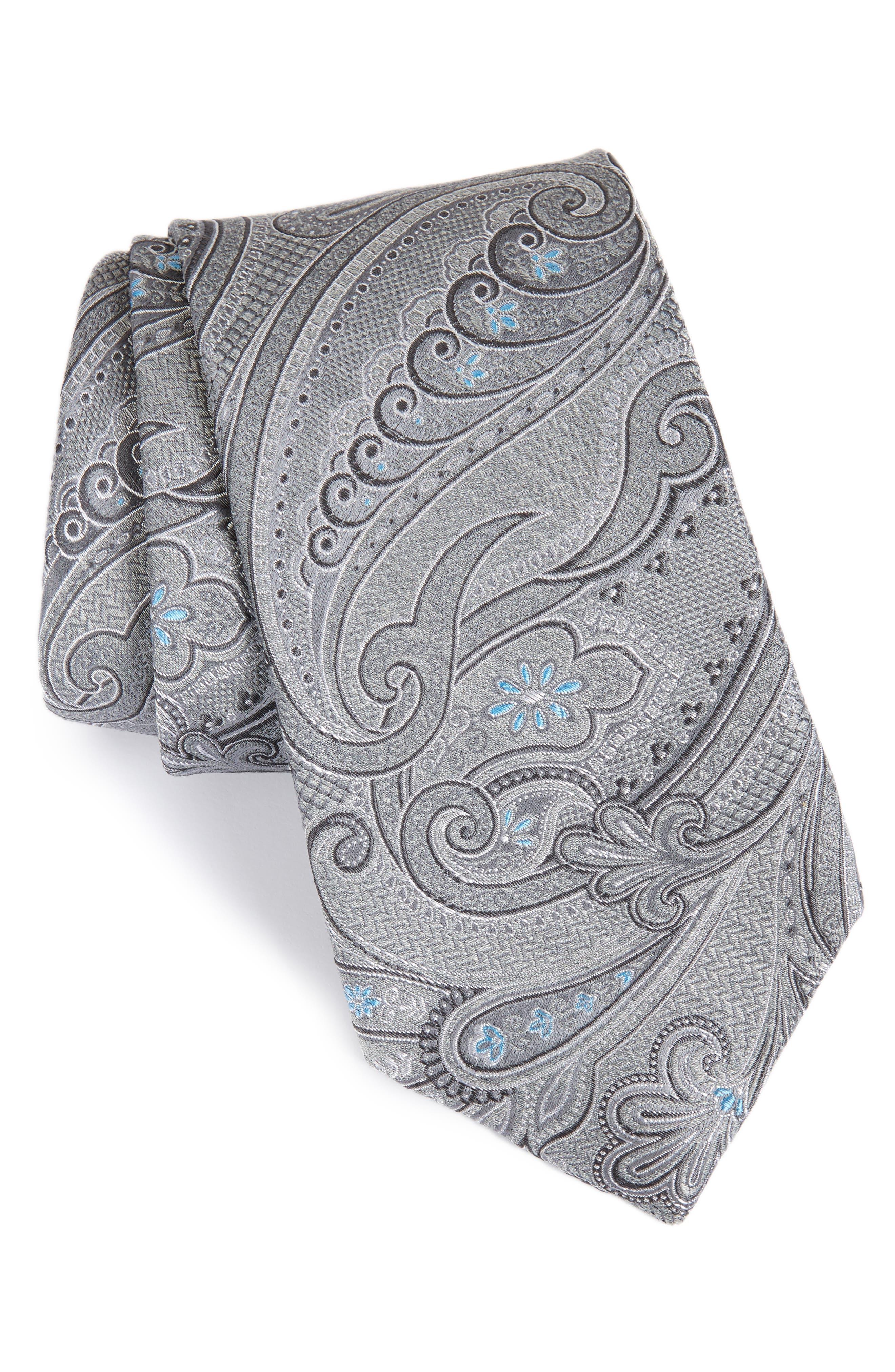 Bushnell Paisley Silk Blend Tie,                             Main thumbnail 1, color,                             CHARCOAL