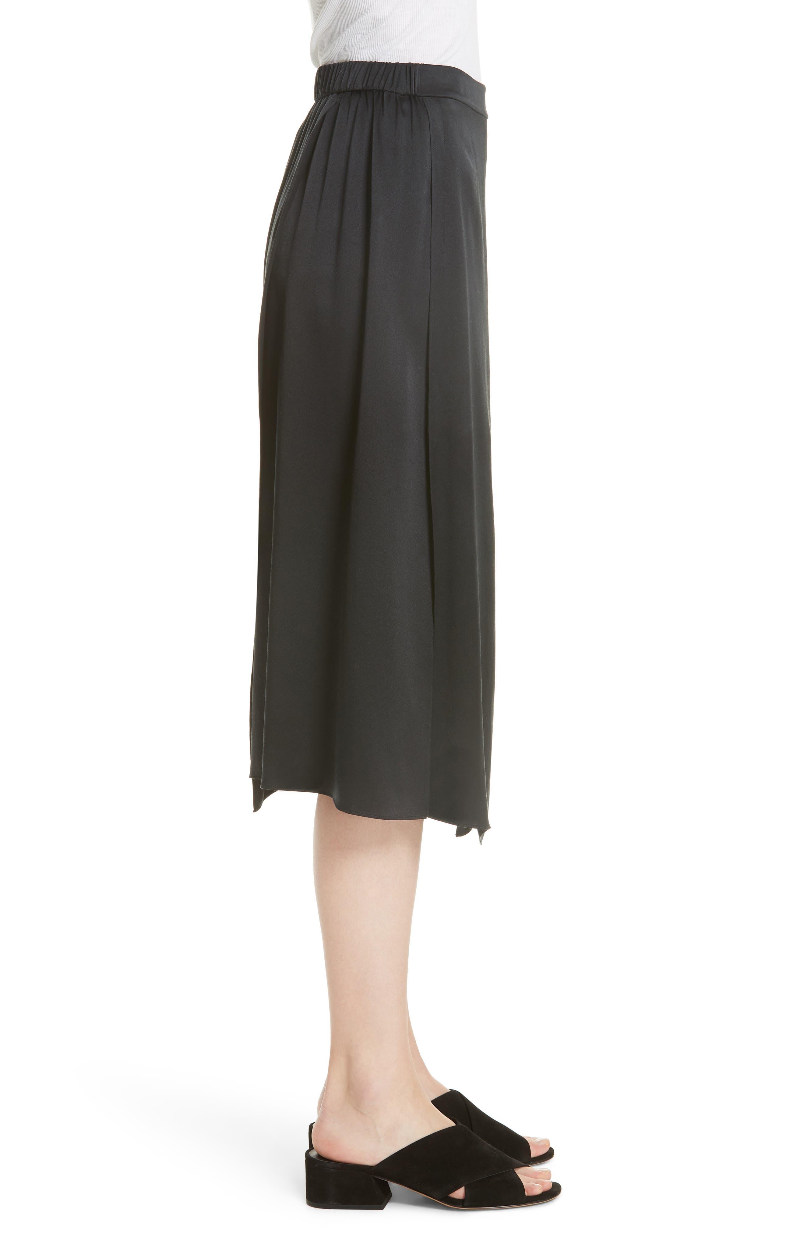 Drape Panel Silk Skirt,                             Alternate thumbnail 3, color,                             BLACK