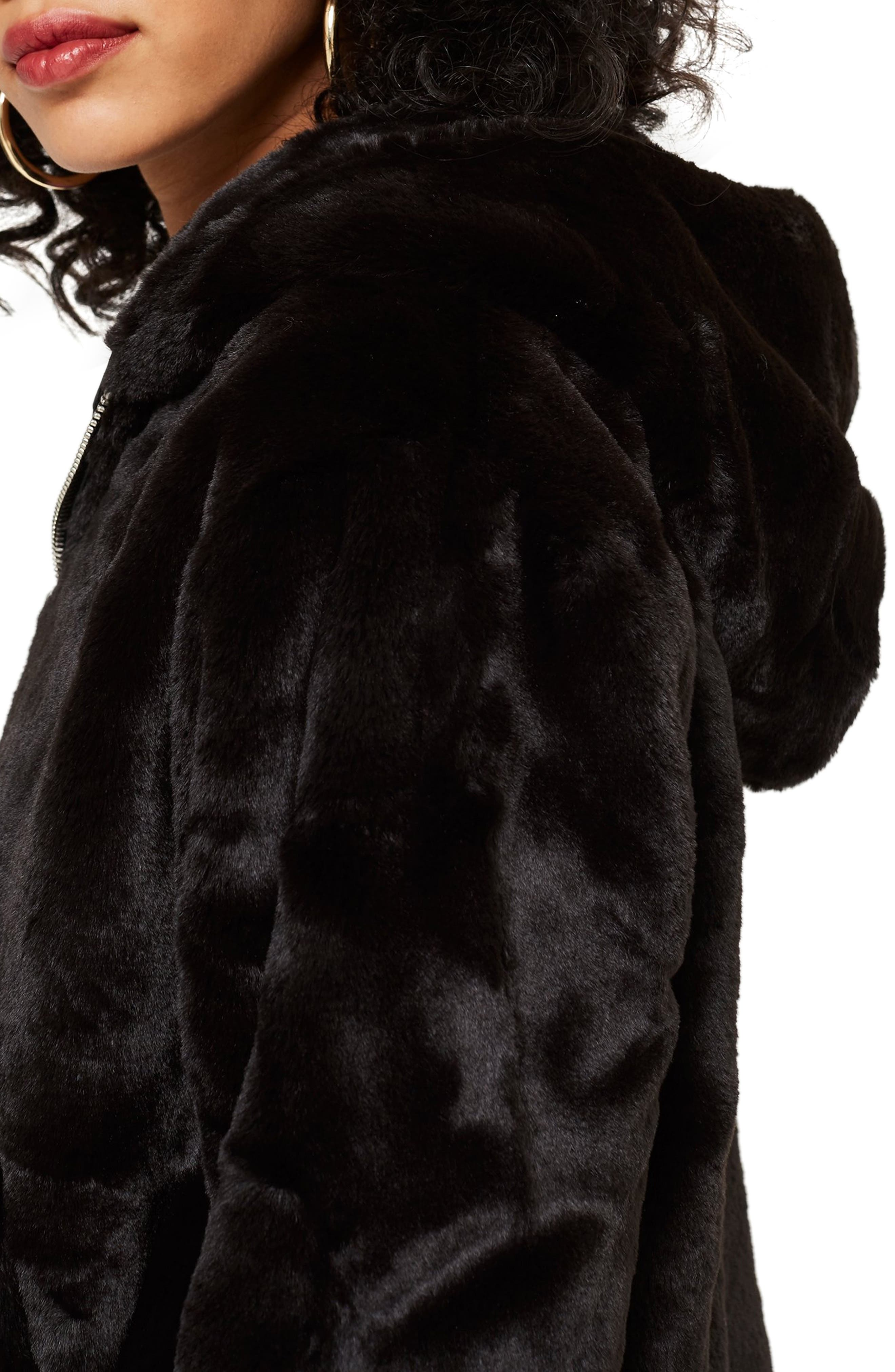 Faux Fur Zip Hoodie,                             Alternate thumbnail 3, color,                             BLACK