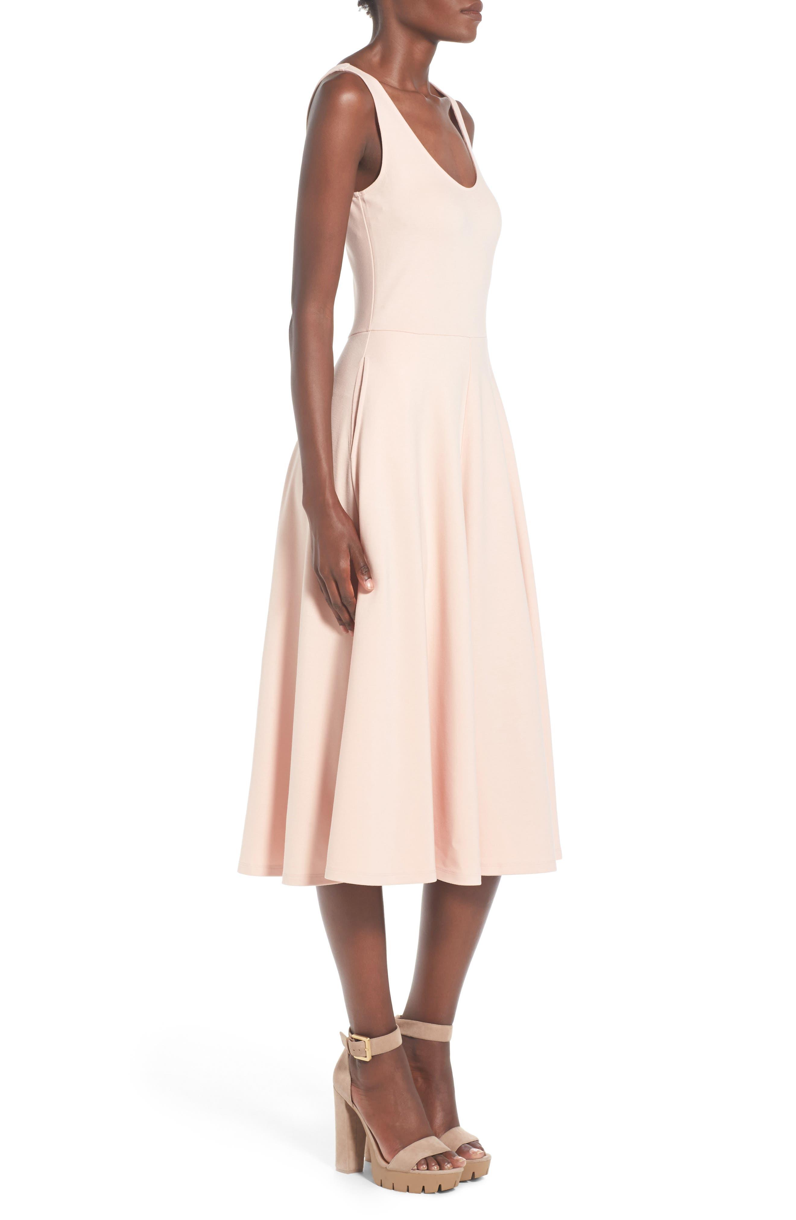 Stretch Knit Midi Dress,                             Alternate thumbnail 43, color,