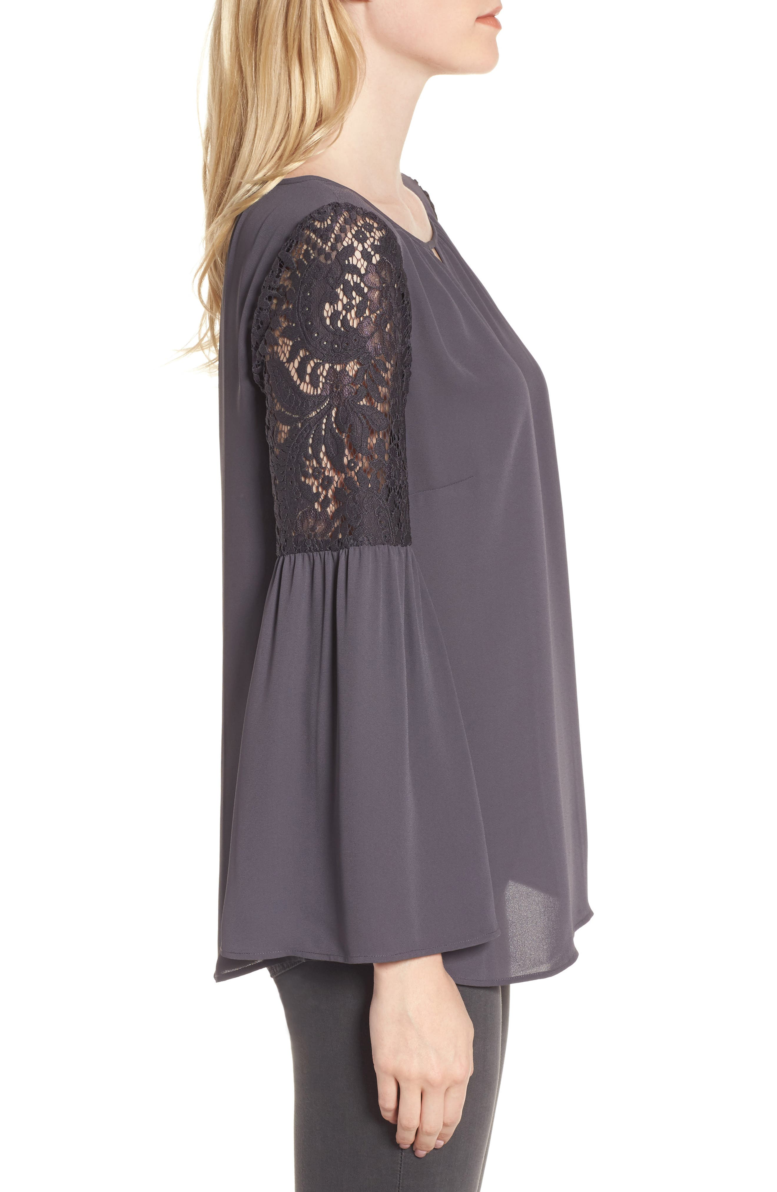 Lace Bell Sleeve Top,                             Alternate thumbnail 3, color,                             021