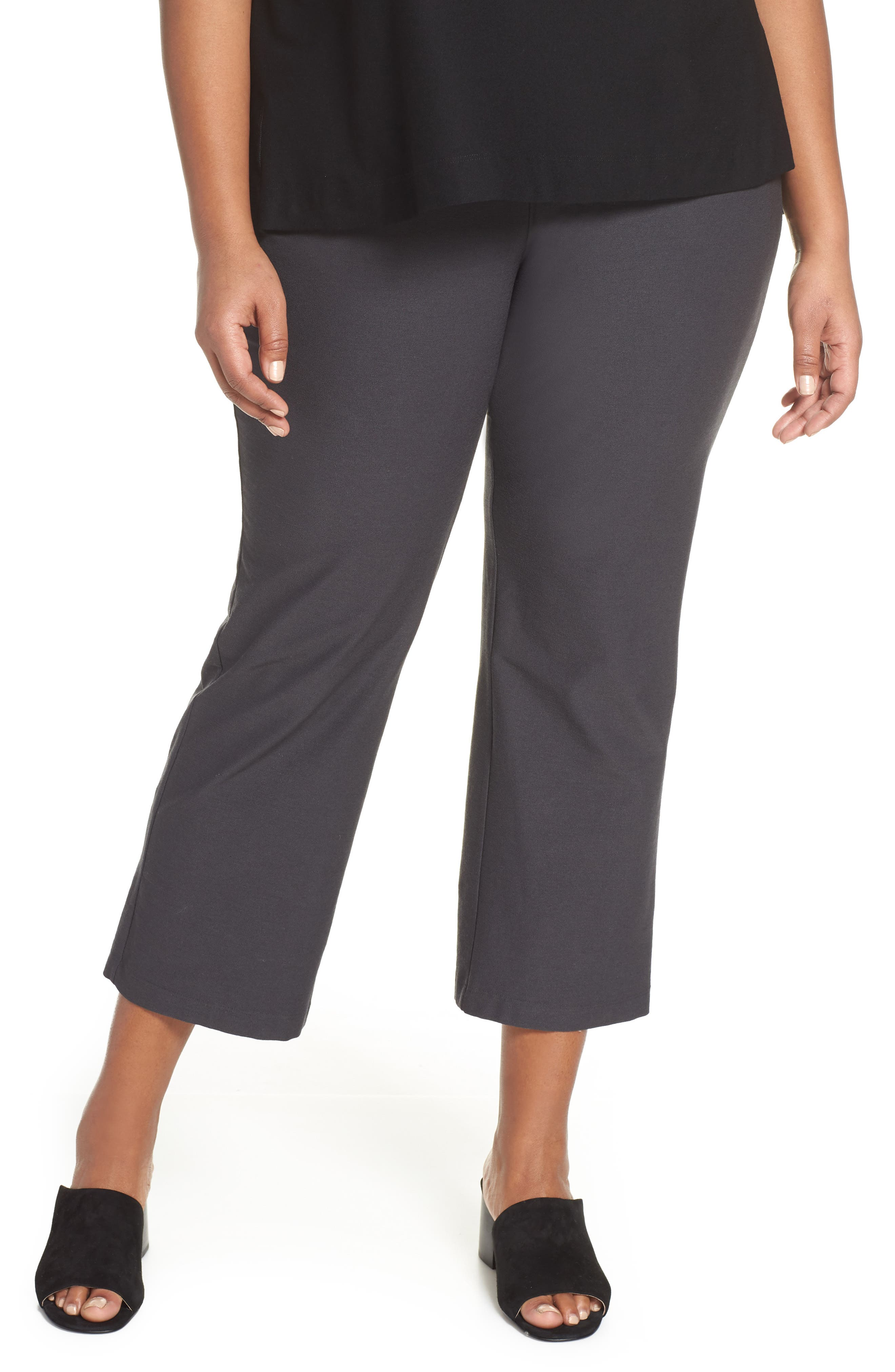 Plus Size Eileen Fisher Flare Ankle Pants, Grey