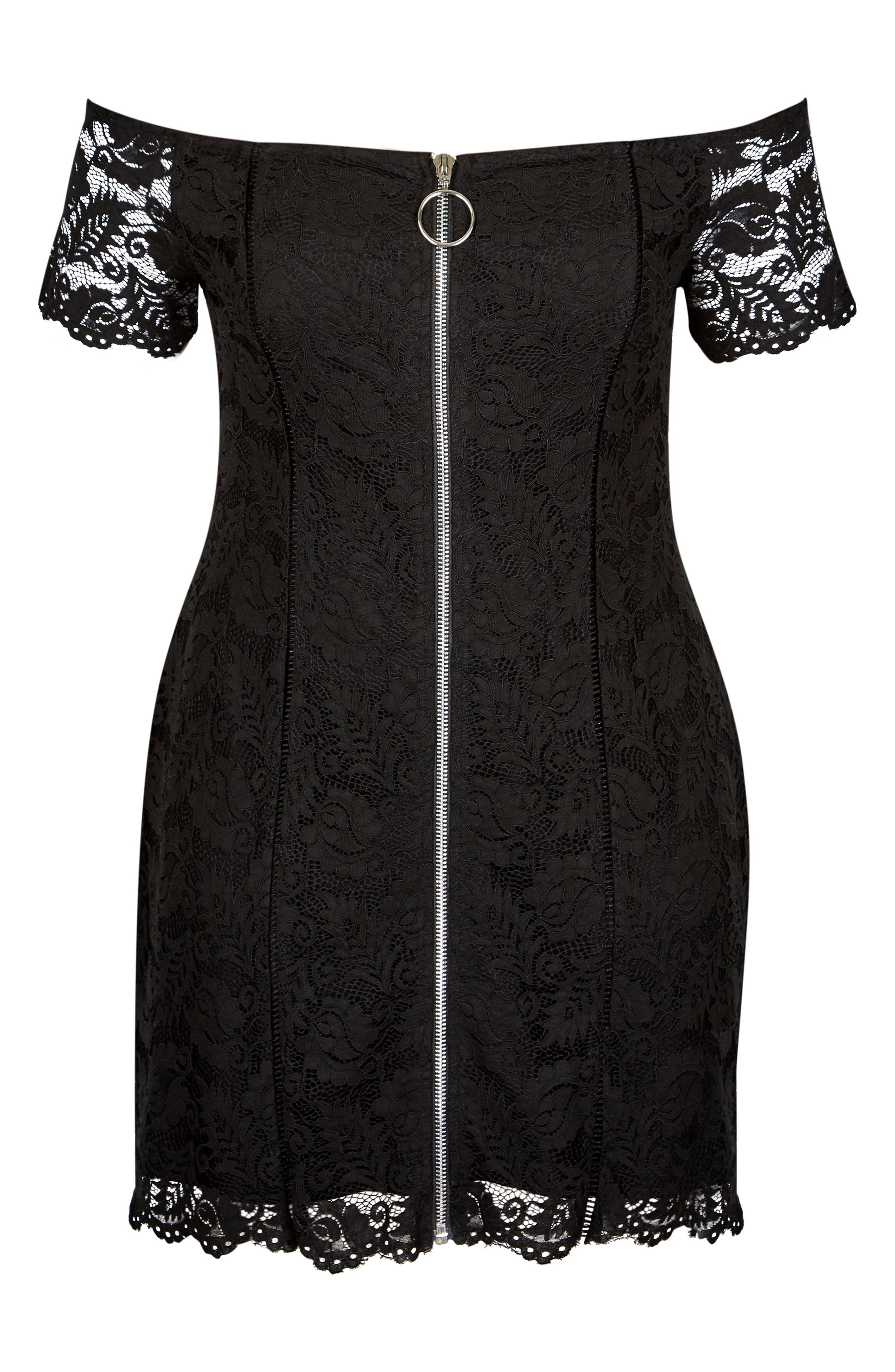 Special Zip Lace Dress,                             Alternate thumbnail 3, color,                             BLACK