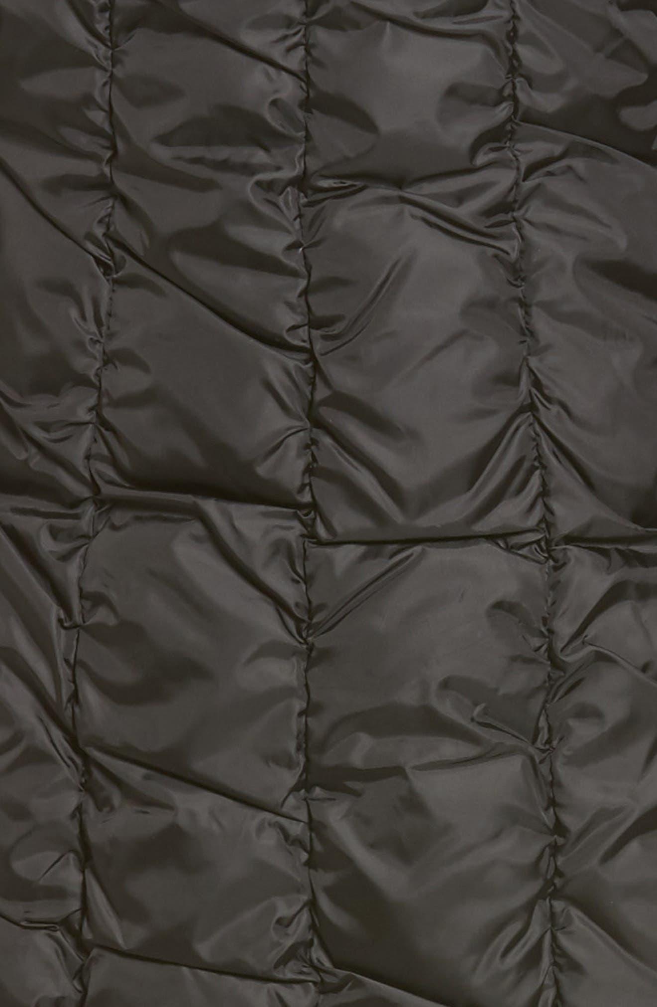 Long Faux Fur Trim Coat,                             Alternate thumbnail 6, color,                             001