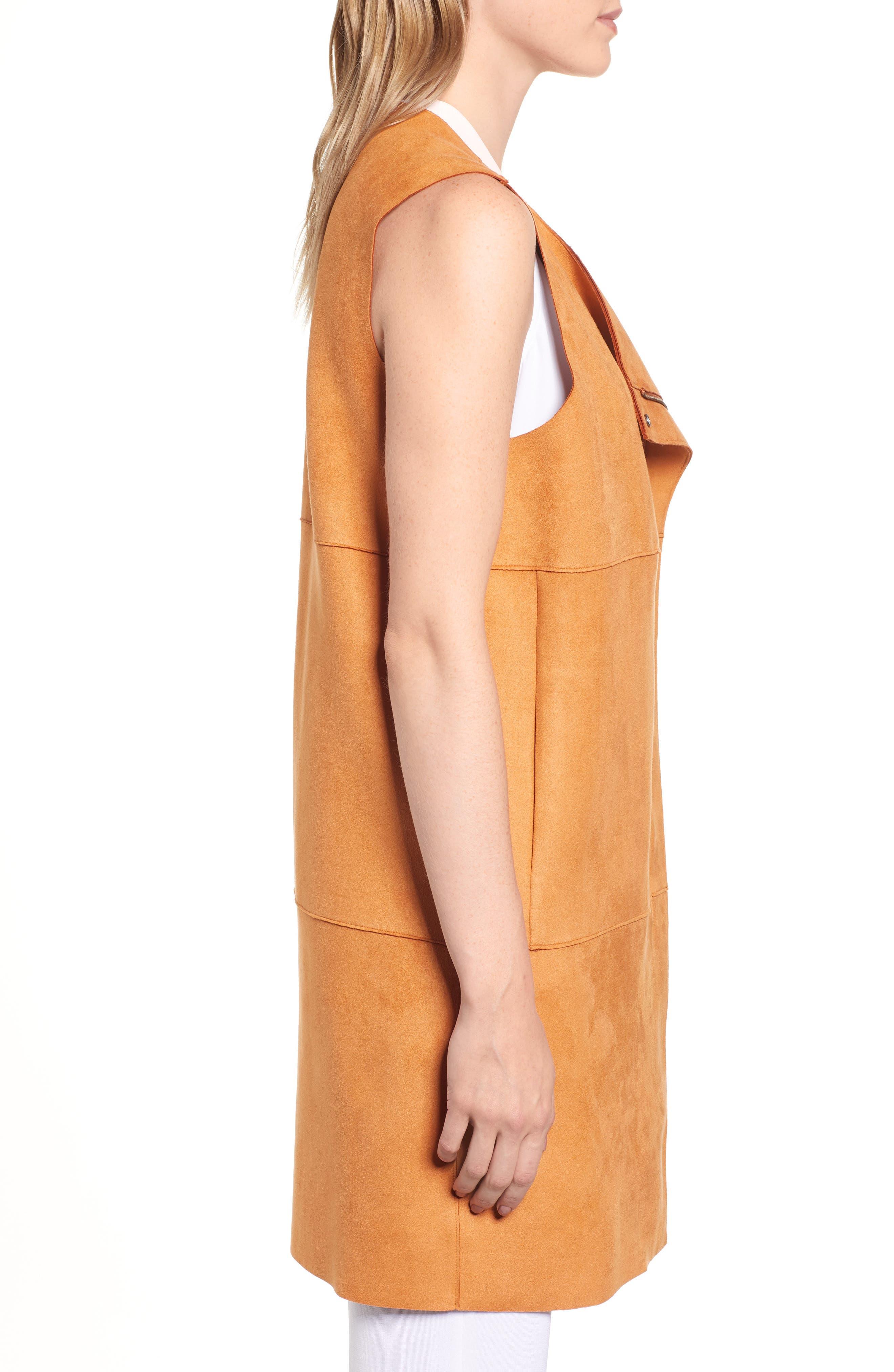 Asymmetrical Faux Suede Vest,                             Alternate thumbnail 3, color,                             COGNAC