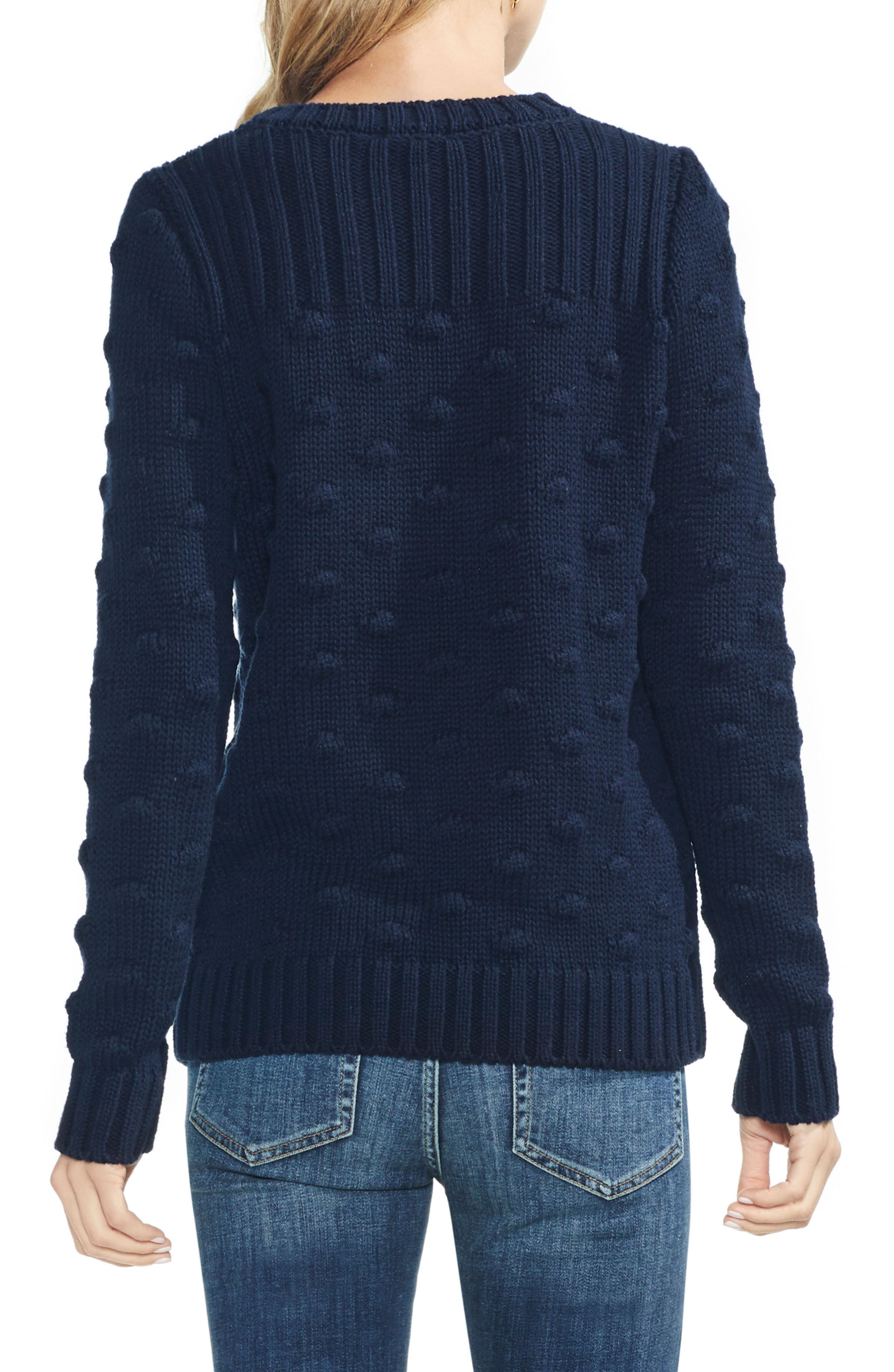 Vince Camto Popcorn Stitch Cotton Sweater,                             Alternate thumbnail 2, color,                             CLASSIC NAVY