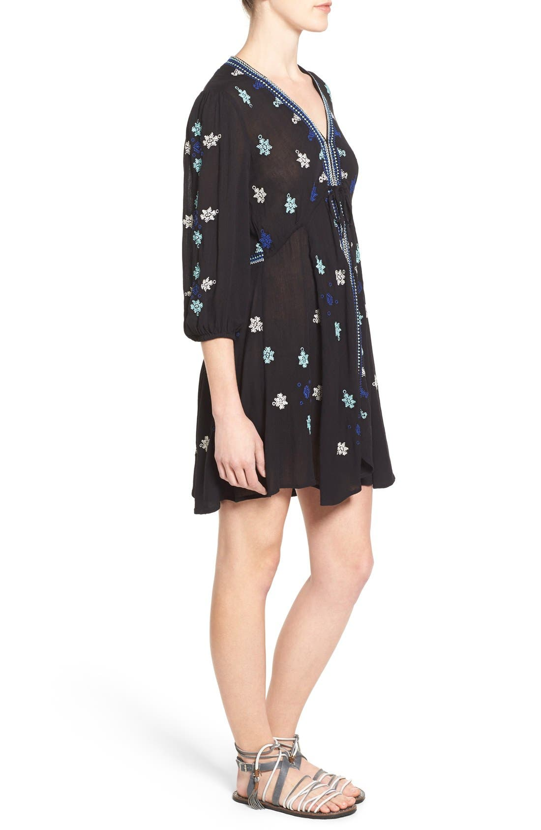 'Star Gazer' Embroidered Tunic Dress,                             Alternate thumbnail 6, color,                             001