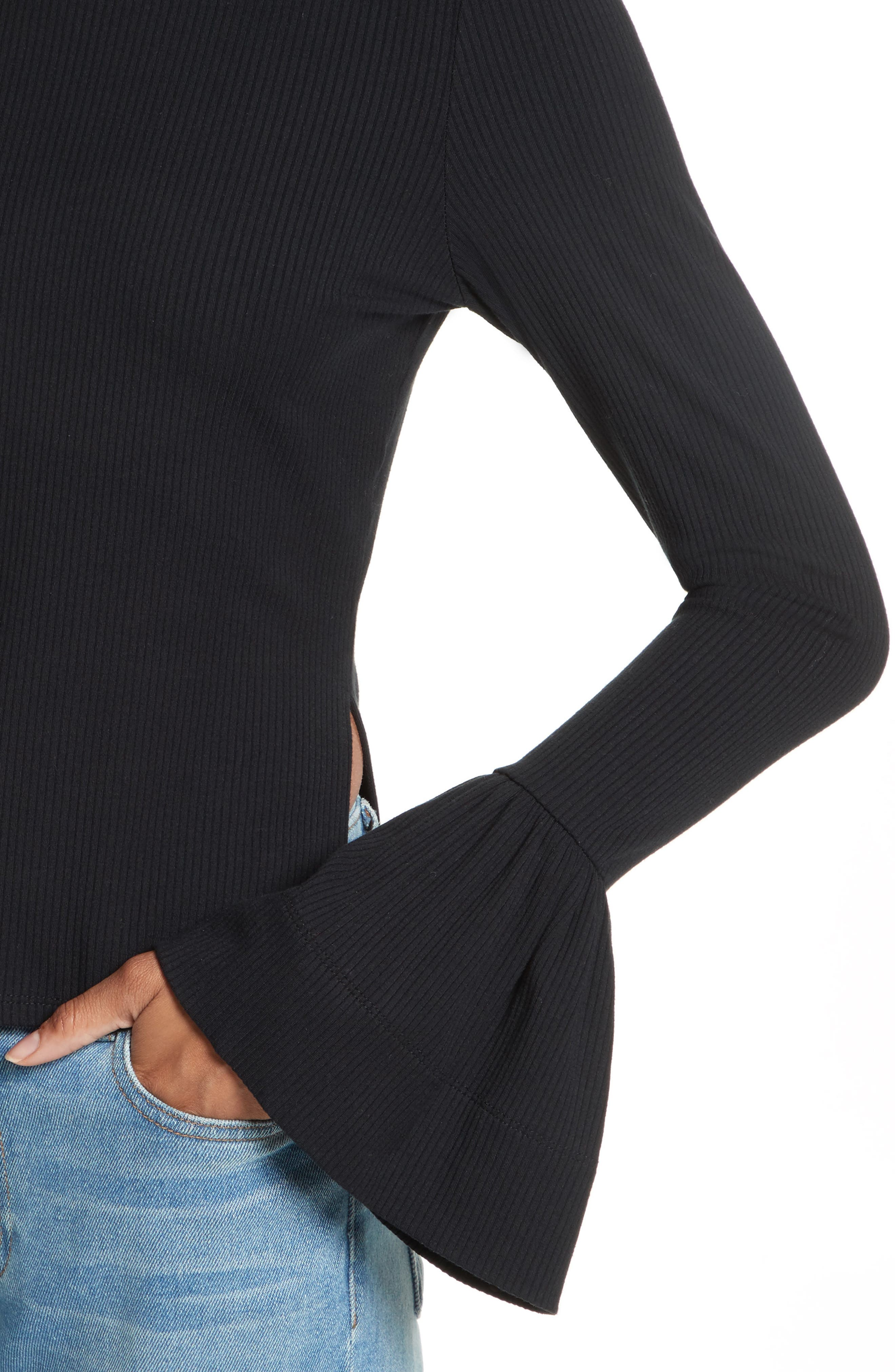 May Bell Sleeve Turtleneck,                             Alternate thumbnail 4, color,