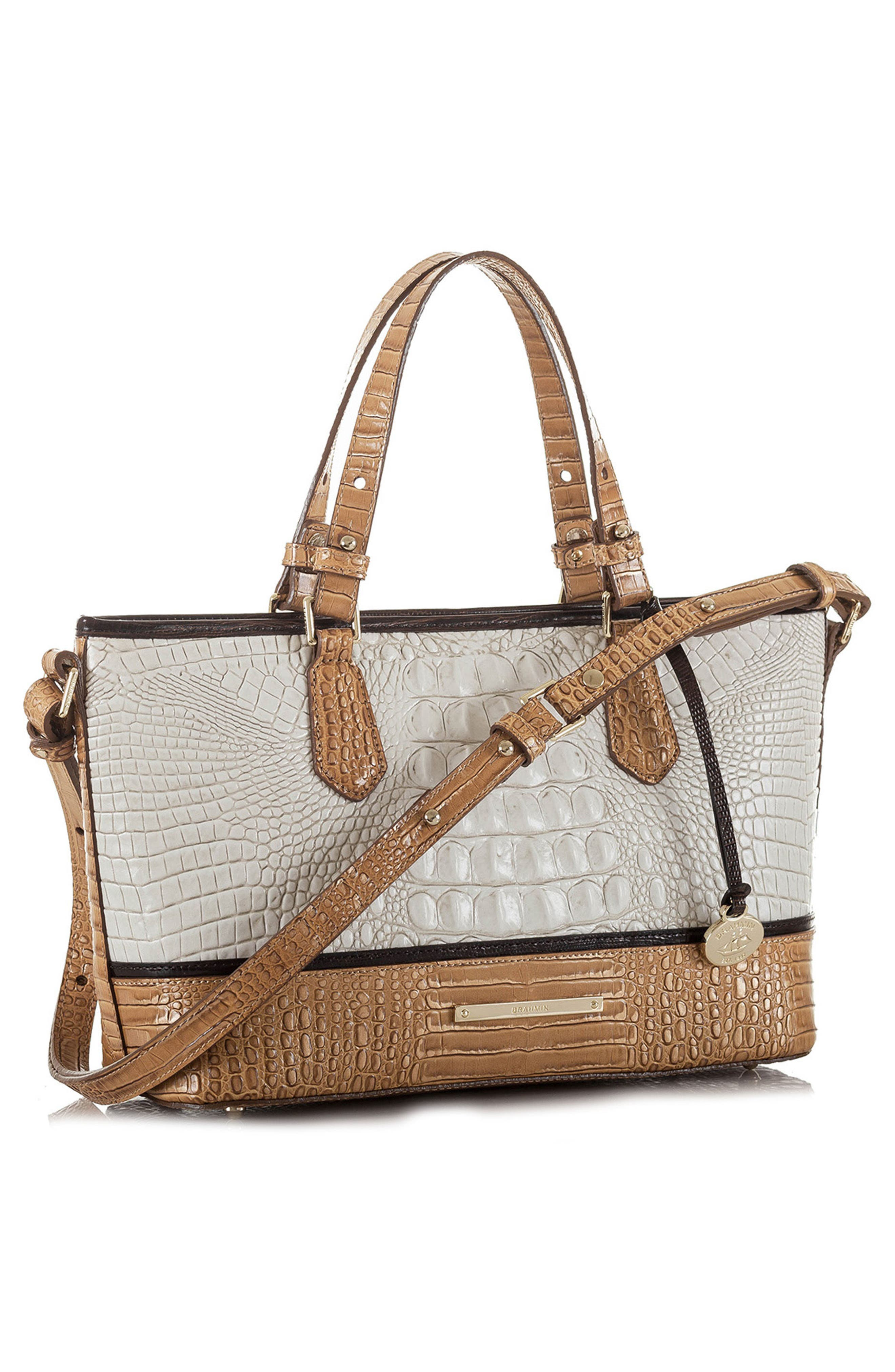 Mini Asher Embossed Leather Tote,                             Alternate thumbnail 4, color,                             100