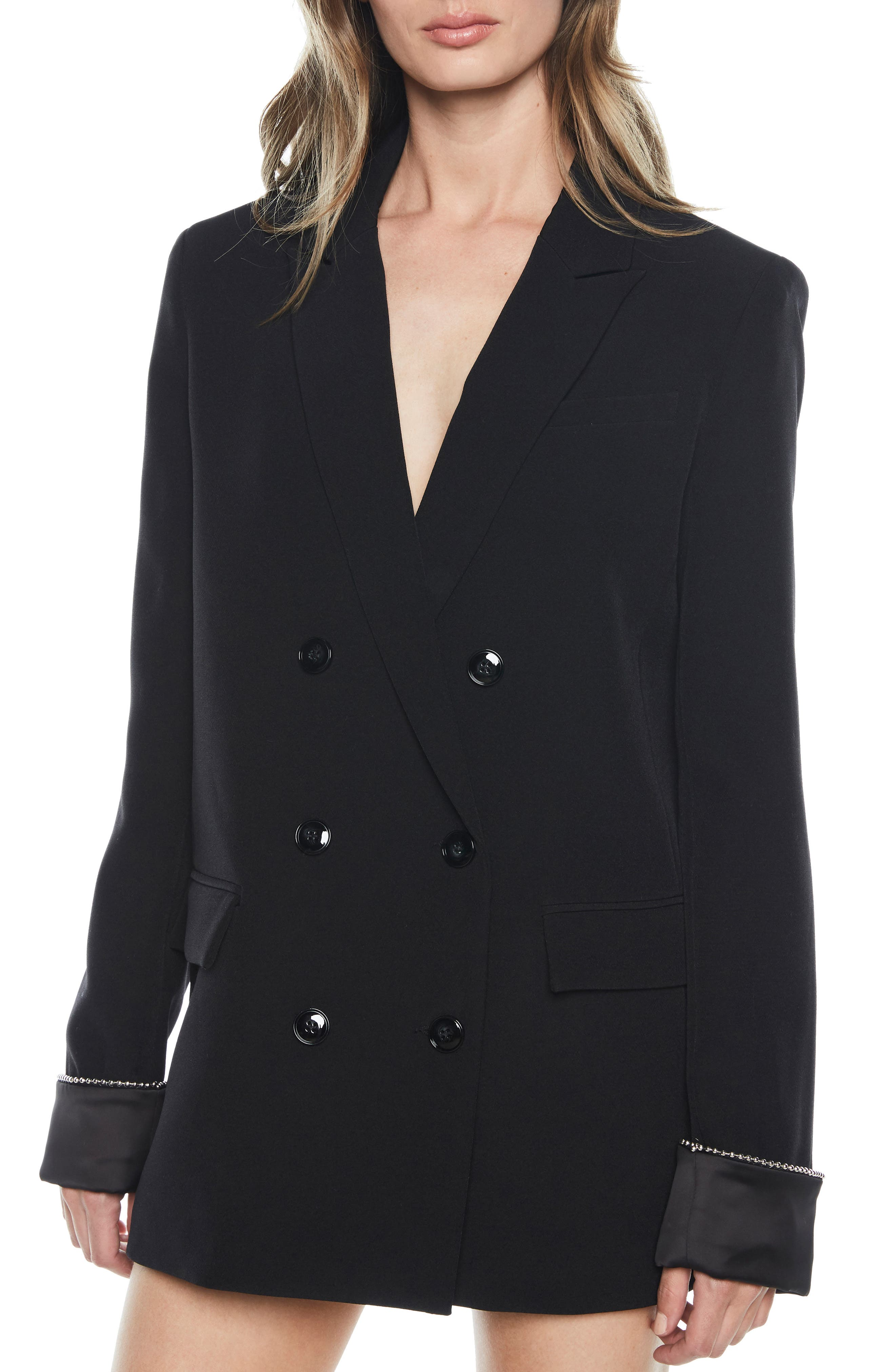 Sienna Double Breasted Jacket,                             Main thumbnail 1, color,                             BLACK