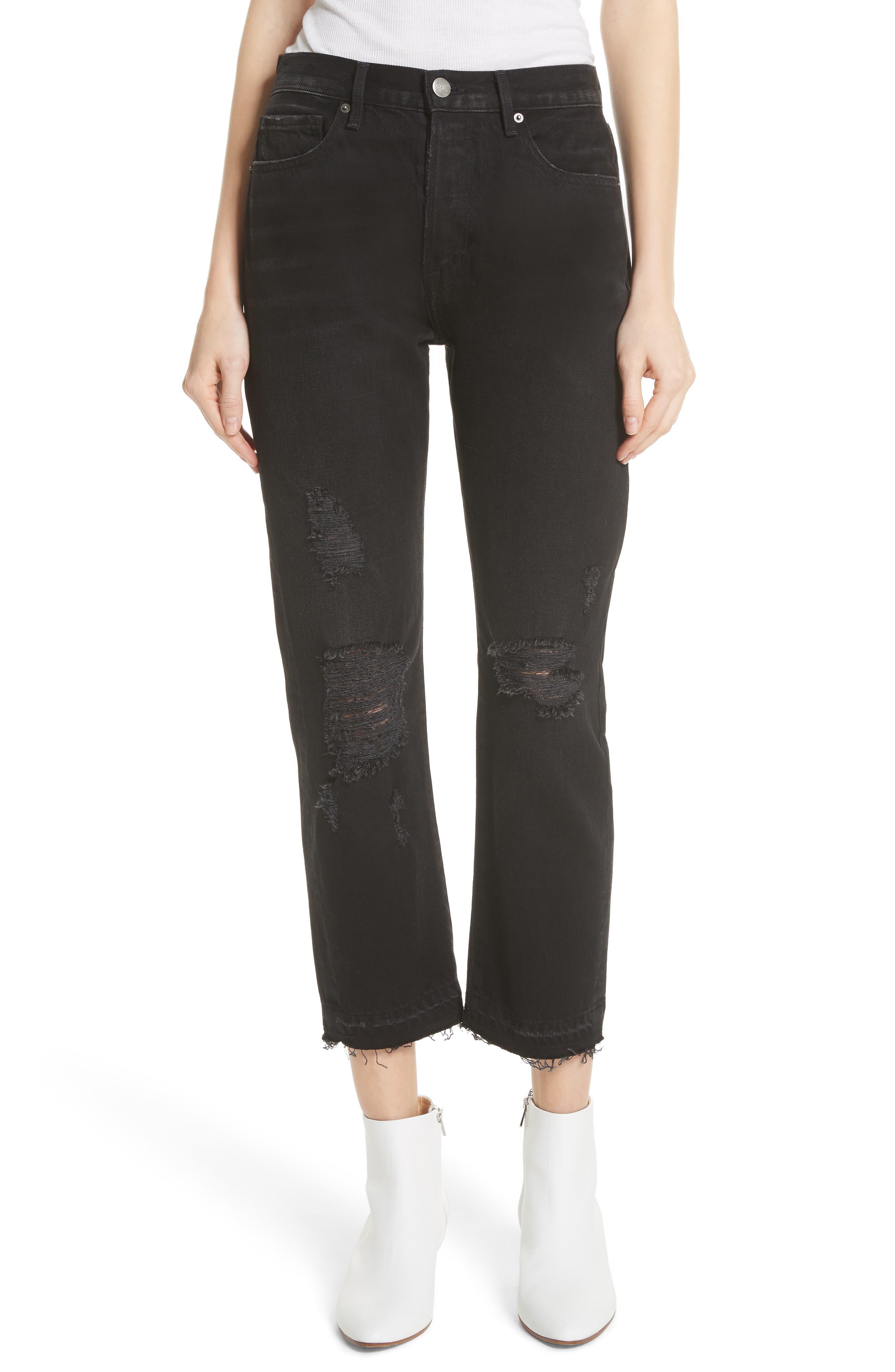 Le Original Released Hem High Waist Jeans,                         Main,                         color, 001