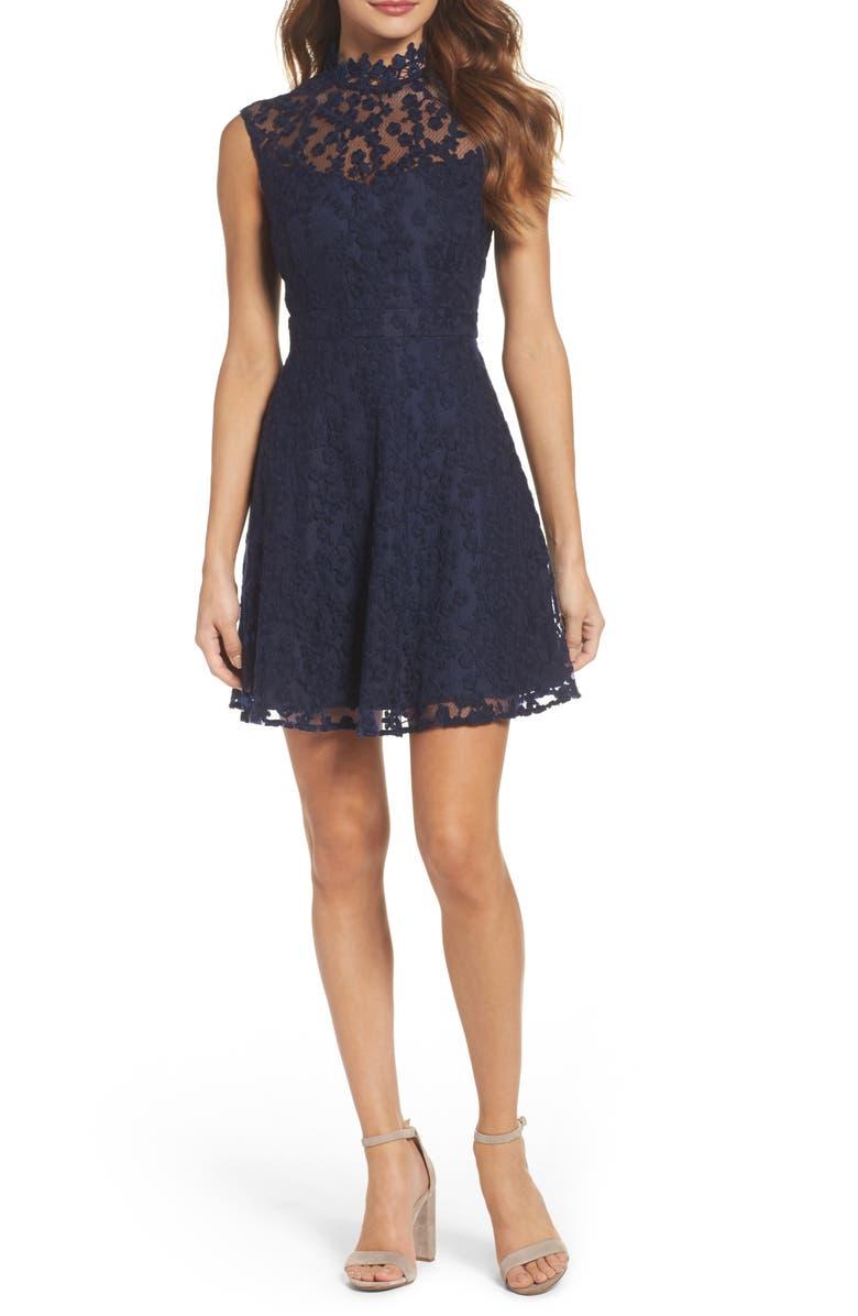 8f2c8fa2f5d4e BB Dakota Embroidered Mesh Fit   Flare Dress