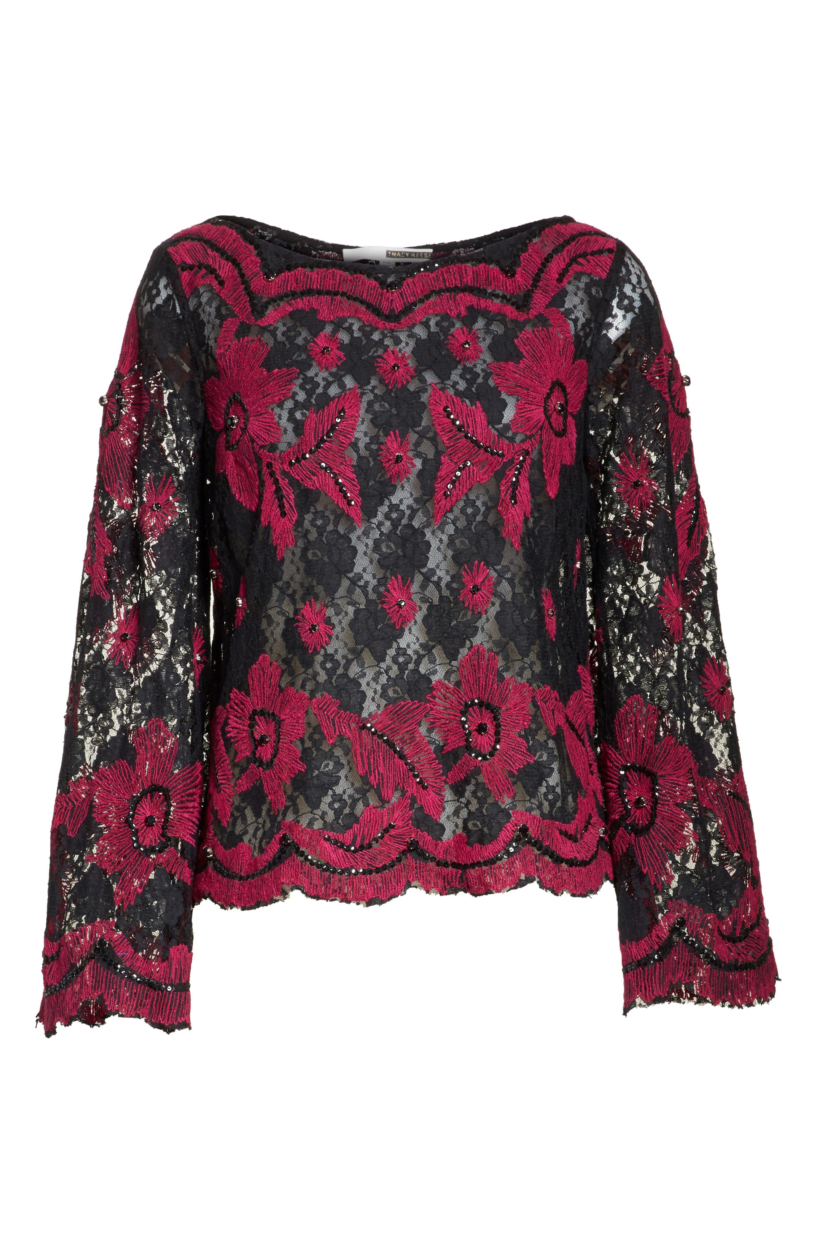 TRACY REESE,                             Embroidered Crop Tee,                             Alternate thumbnail 6, color,                             006