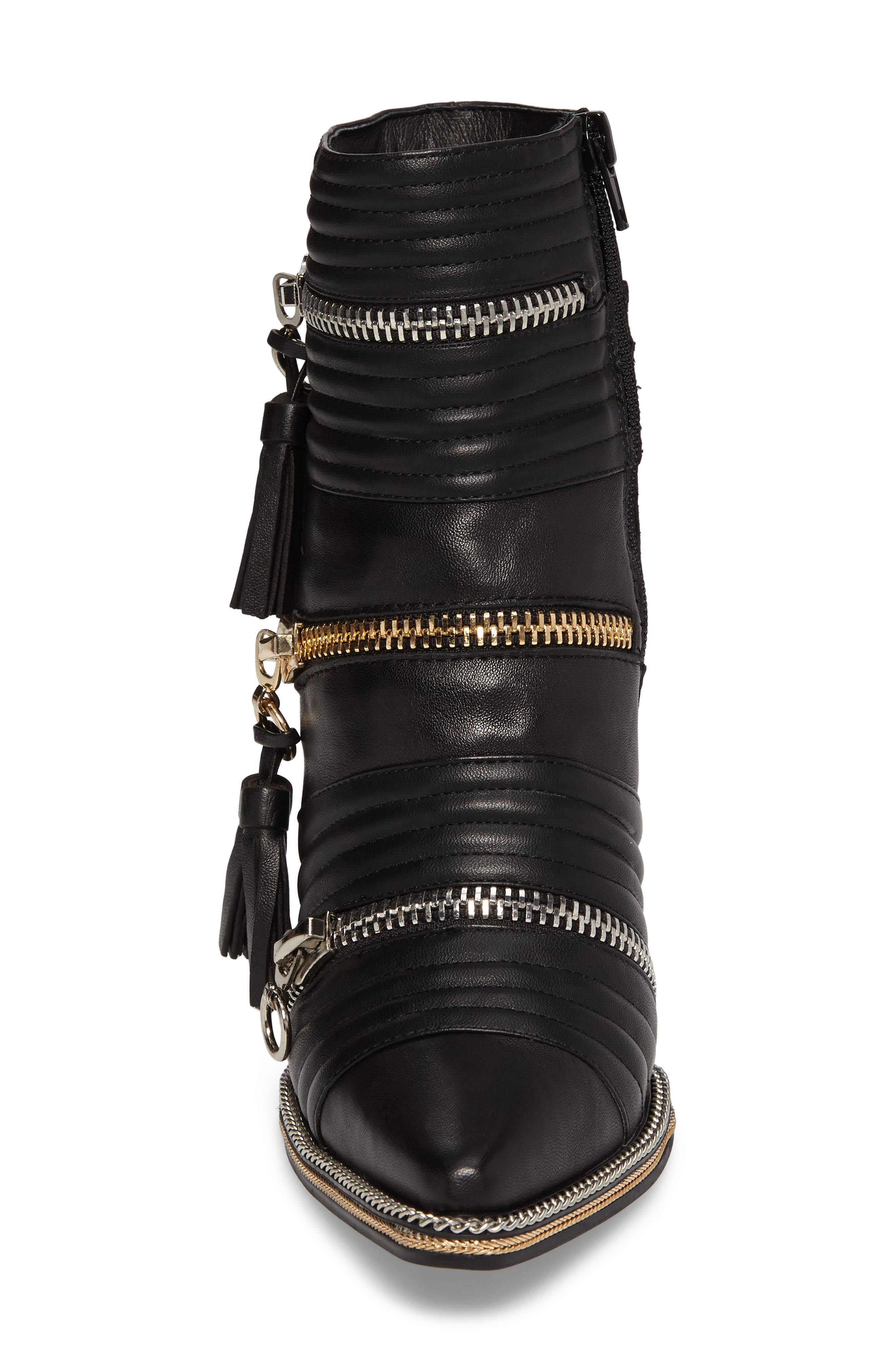 Tenzin Chain Pointy Toe Boot,                             Alternate thumbnail 4, color,                             001