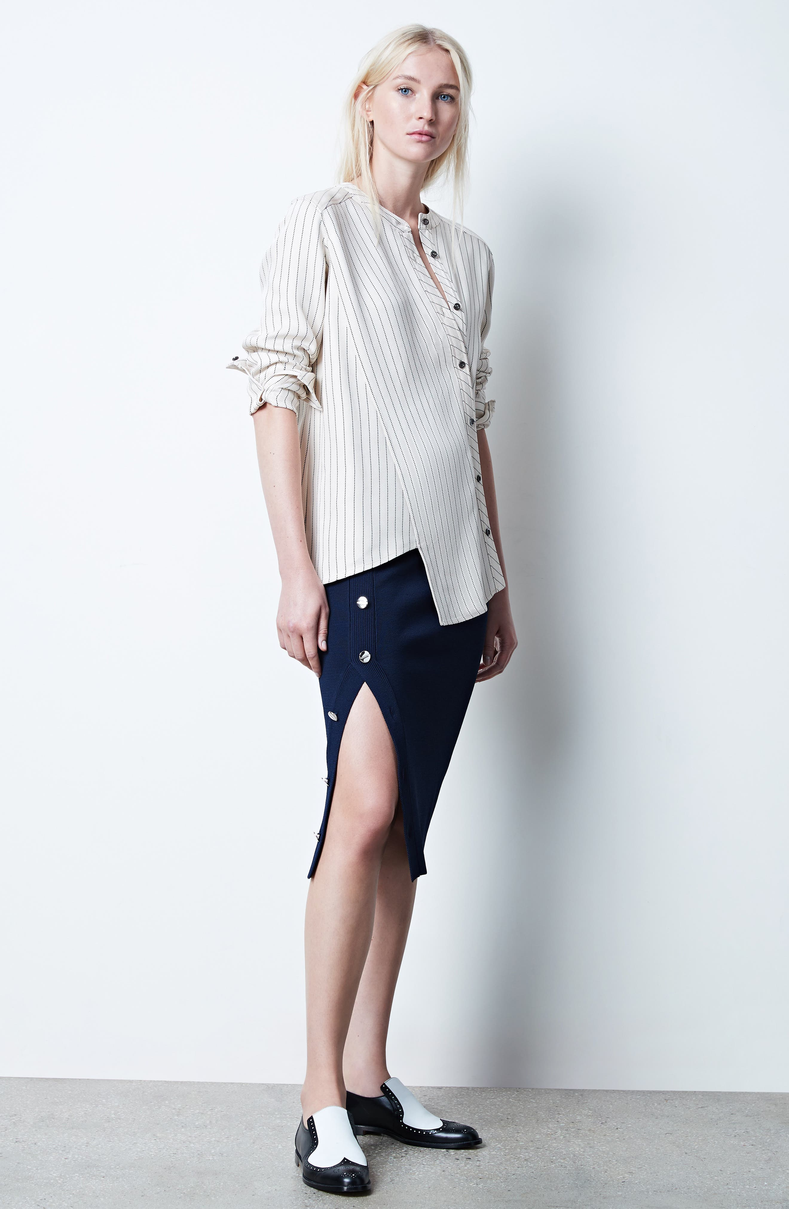 Asymmetrical Pinstripe Blouse,                             Alternate thumbnail 8, color,                             900