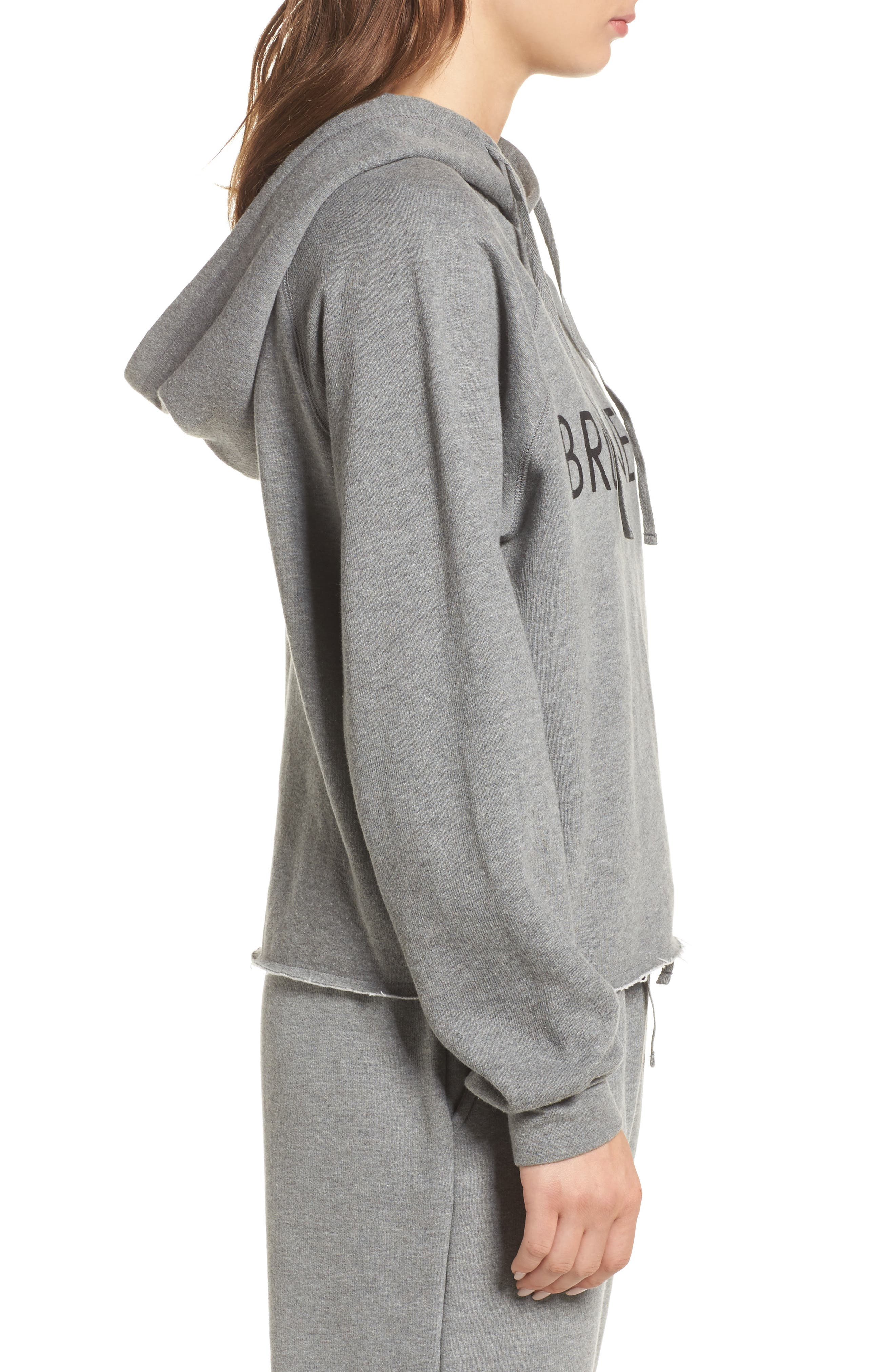 Brunette Raw Hem Hoodie,                             Alternate thumbnail 3, color,                             020