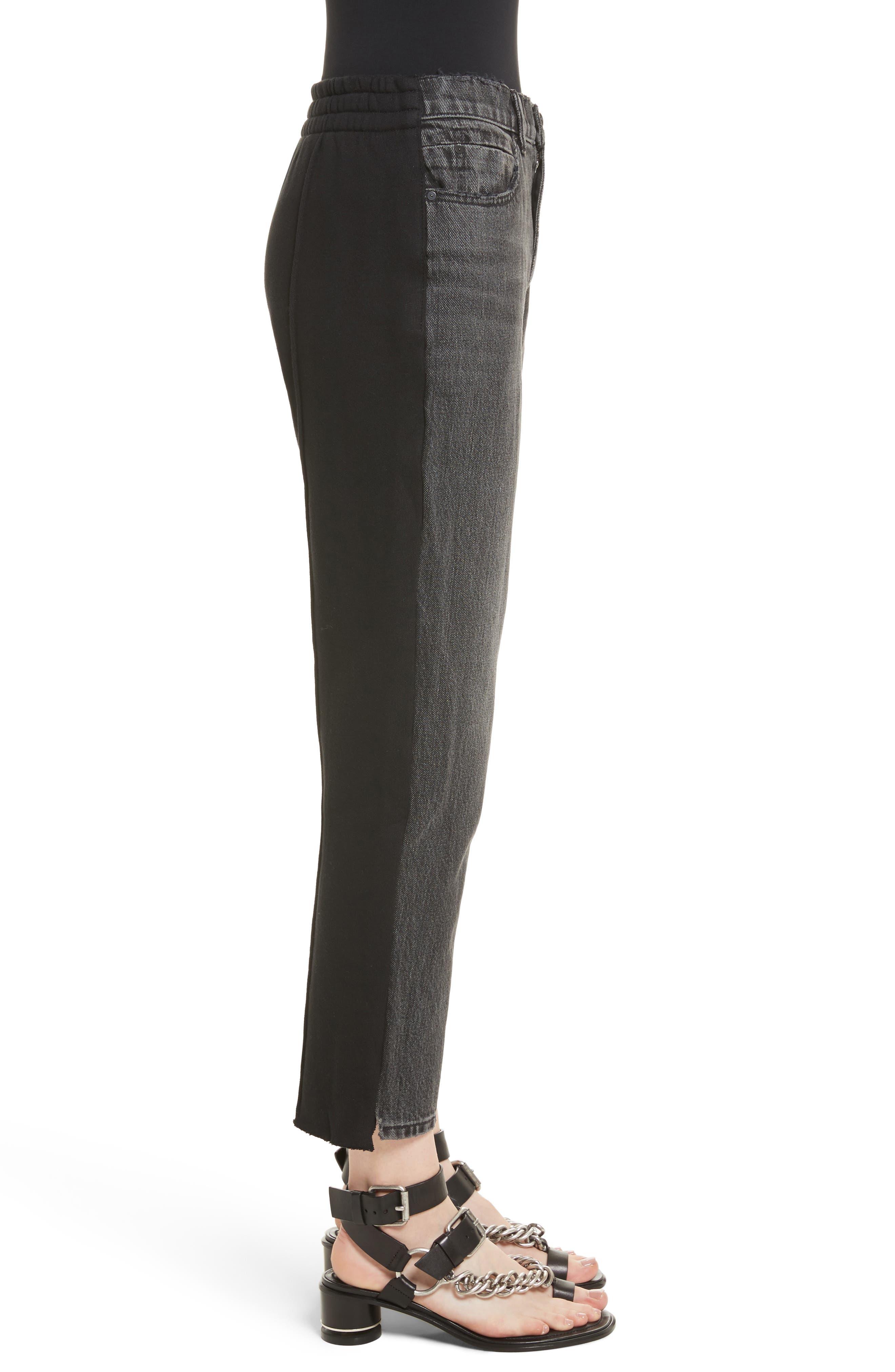 Denim x Alexander Wang Hybrid Sweatpants Jeans,                             Alternate thumbnail 3, color,                             025