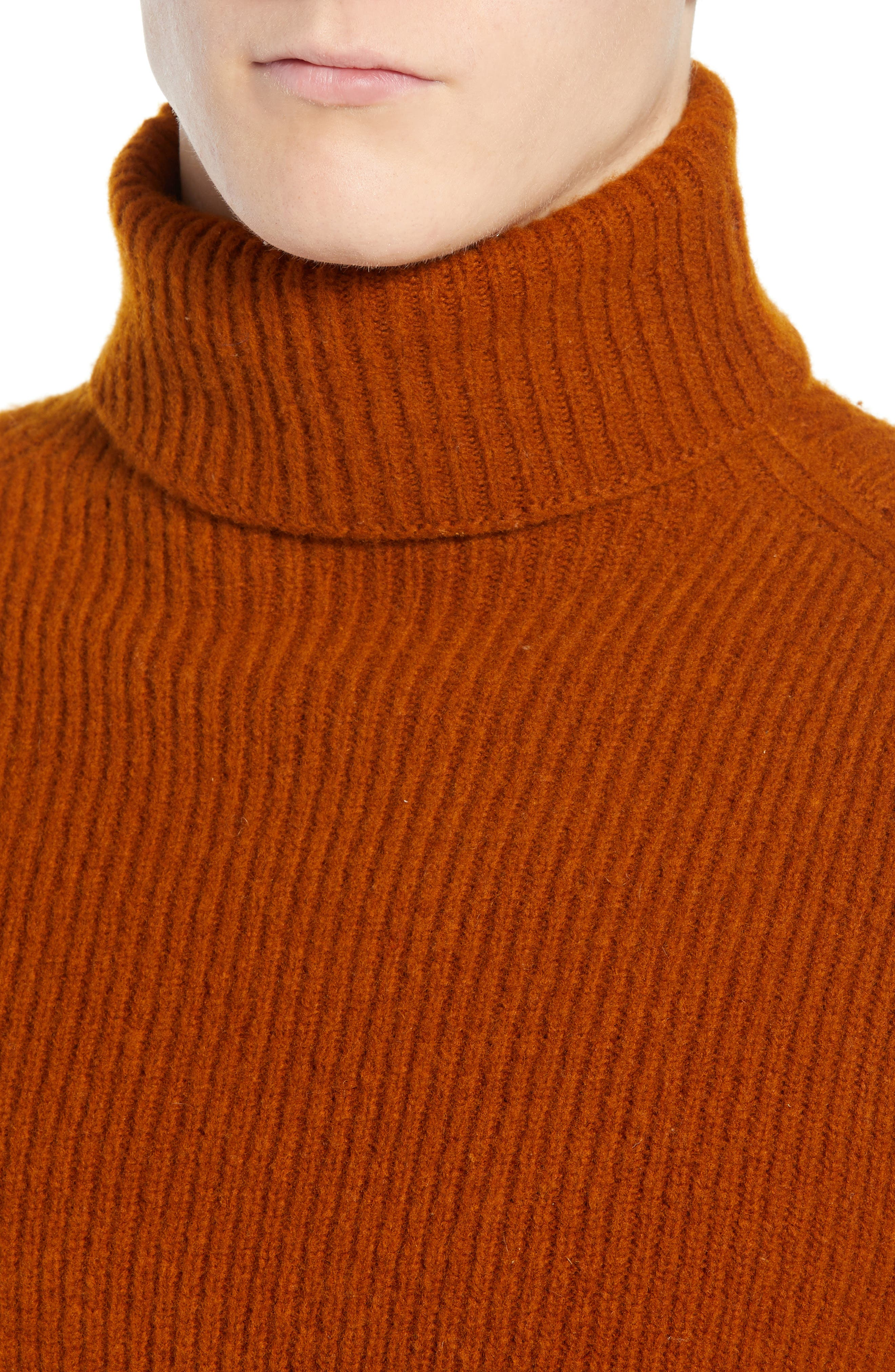 Wool Blend Turtleneck Sweater,                             Alternate thumbnail 4, color,                             RUSSET BROWN