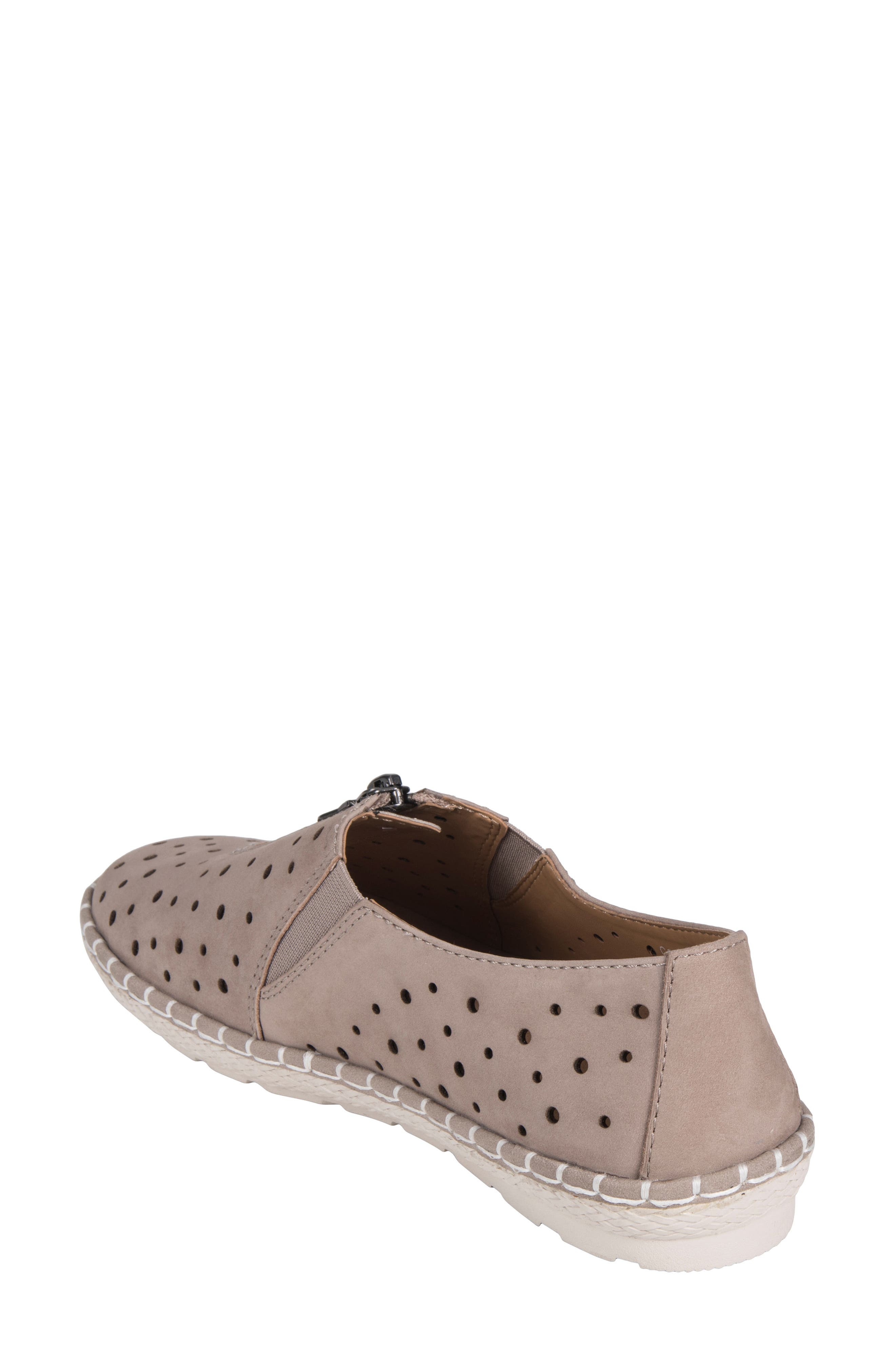 Callisto Perforated Zip Moccasin,                             Alternate thumbnail 2, color,                             TAUPE NUBUCK