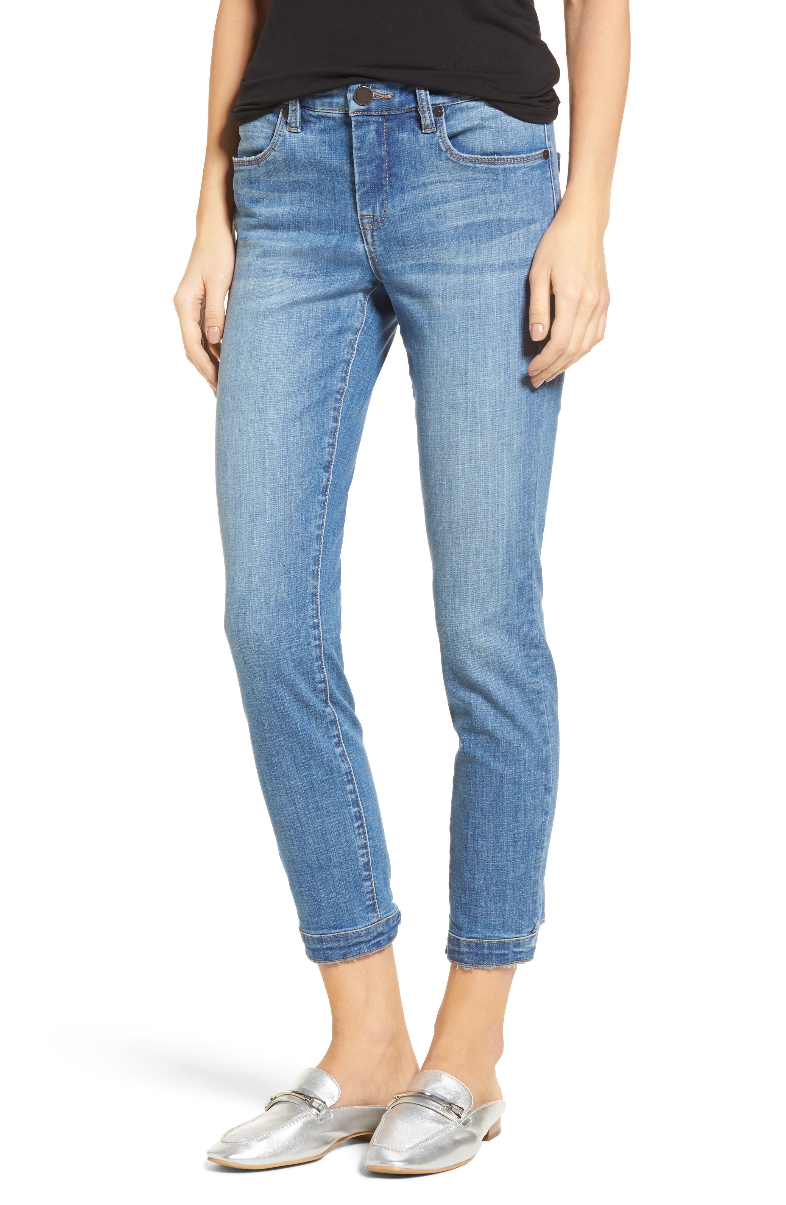 Happy Place Tie Hem Skinny Jeans,                         Main,                         color, 400