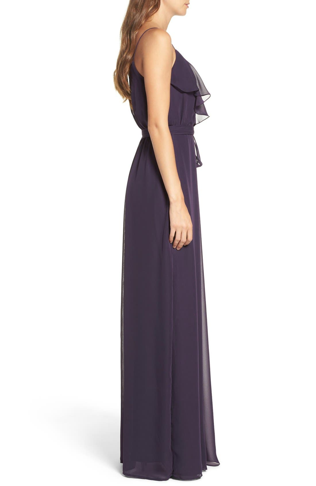 'Drew' Ruffle Front Chiffon Gown,                             Alternate thumbnail 35, color,