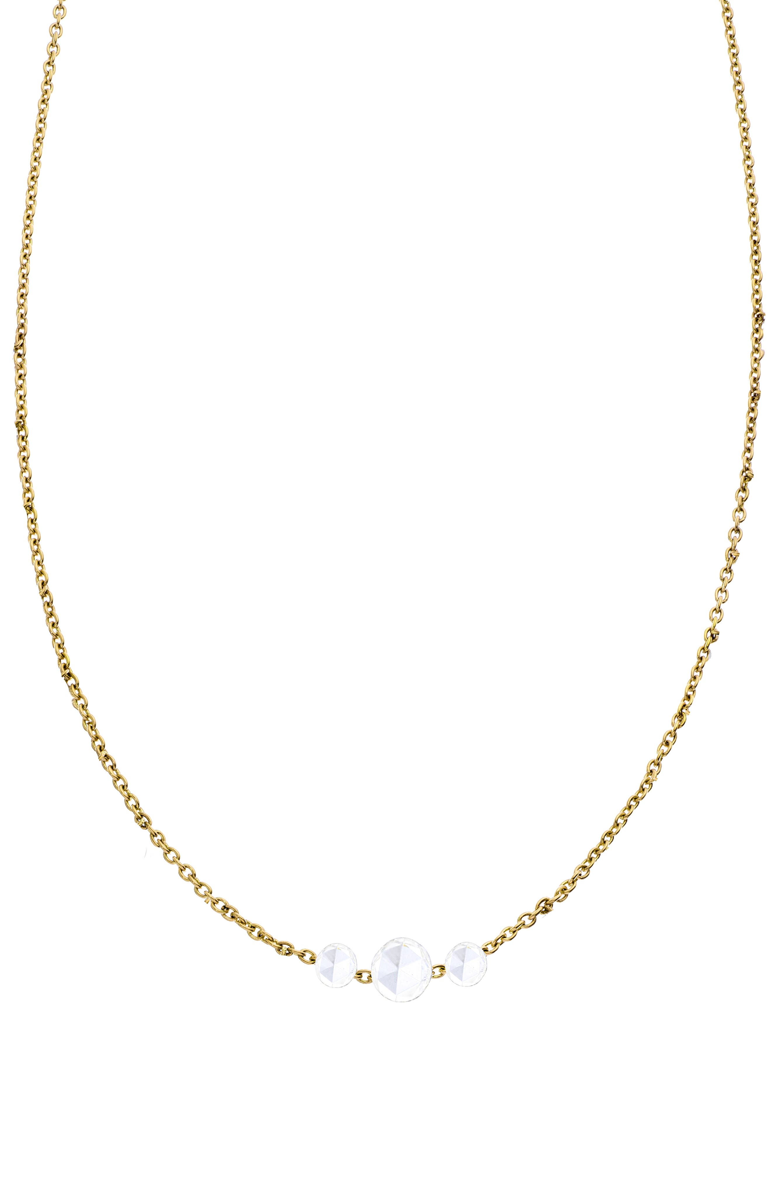 SETHI COUTURE Rose Cut 3-Stone Diamond Necklace in Yellow Gold/ Diamond