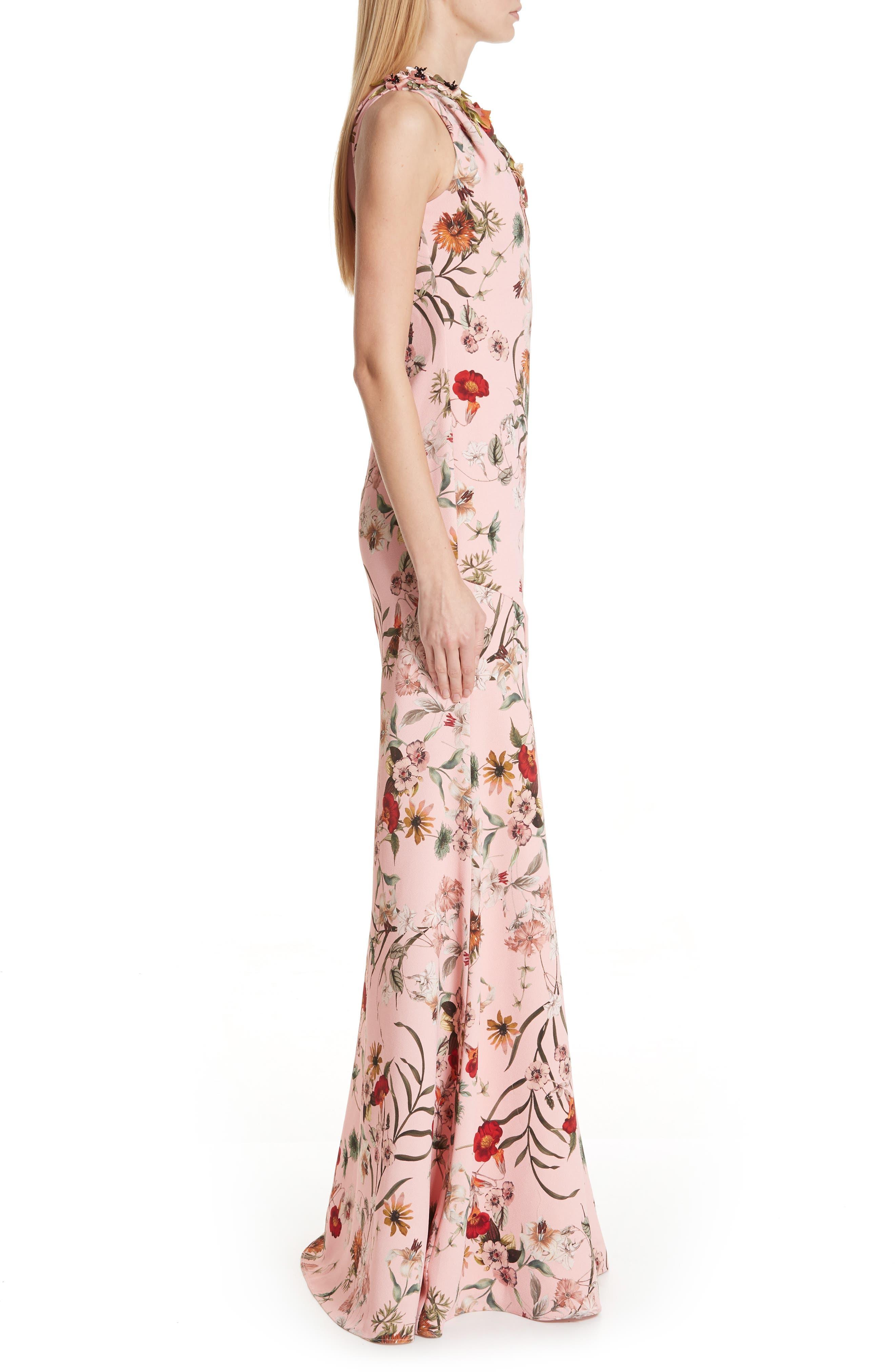 BADGLEY MISCHKA COLLECTION,                             Badgley Mischka One-Shoulder Floral Evening Dress,                             Alternate thumbnail 3, color,                             650