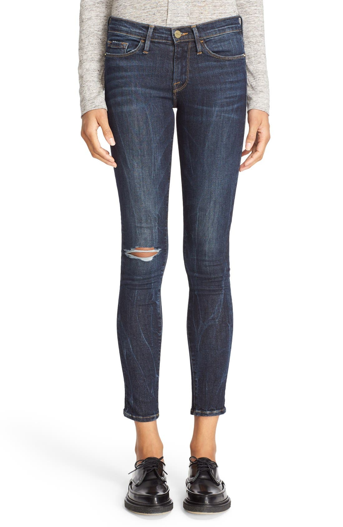 FRAME,                             'Le Skinny' Ripped Crop Jeans,                             Main thumbnail 1, color,                             401