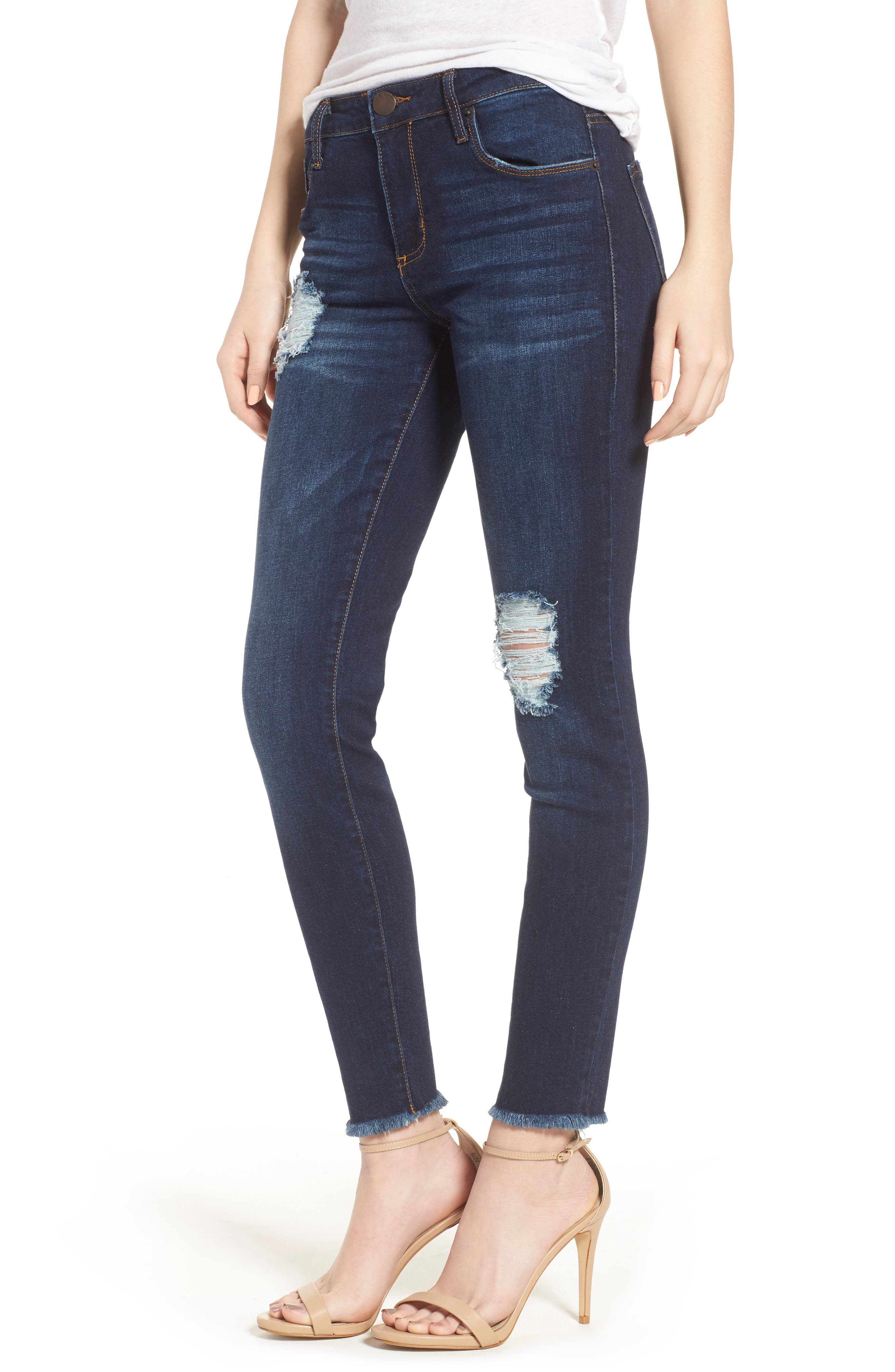 Emma Frayed Hem Ankle Skinny Jeans,                         Main,                         color, 400