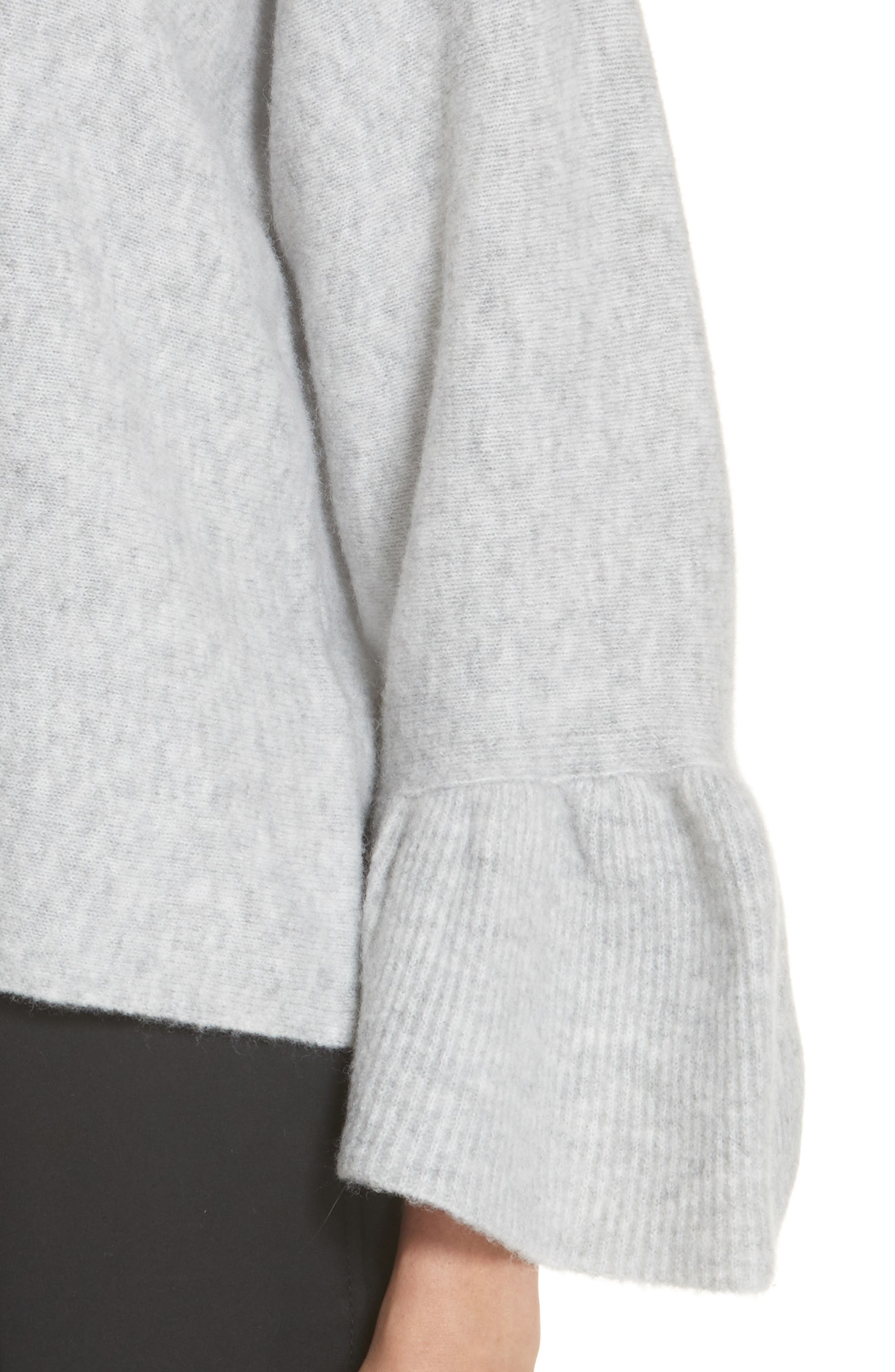 Ruffle Cuff Wool Blend Pullover,                             Alternate thumbnail 4, color,                             034
