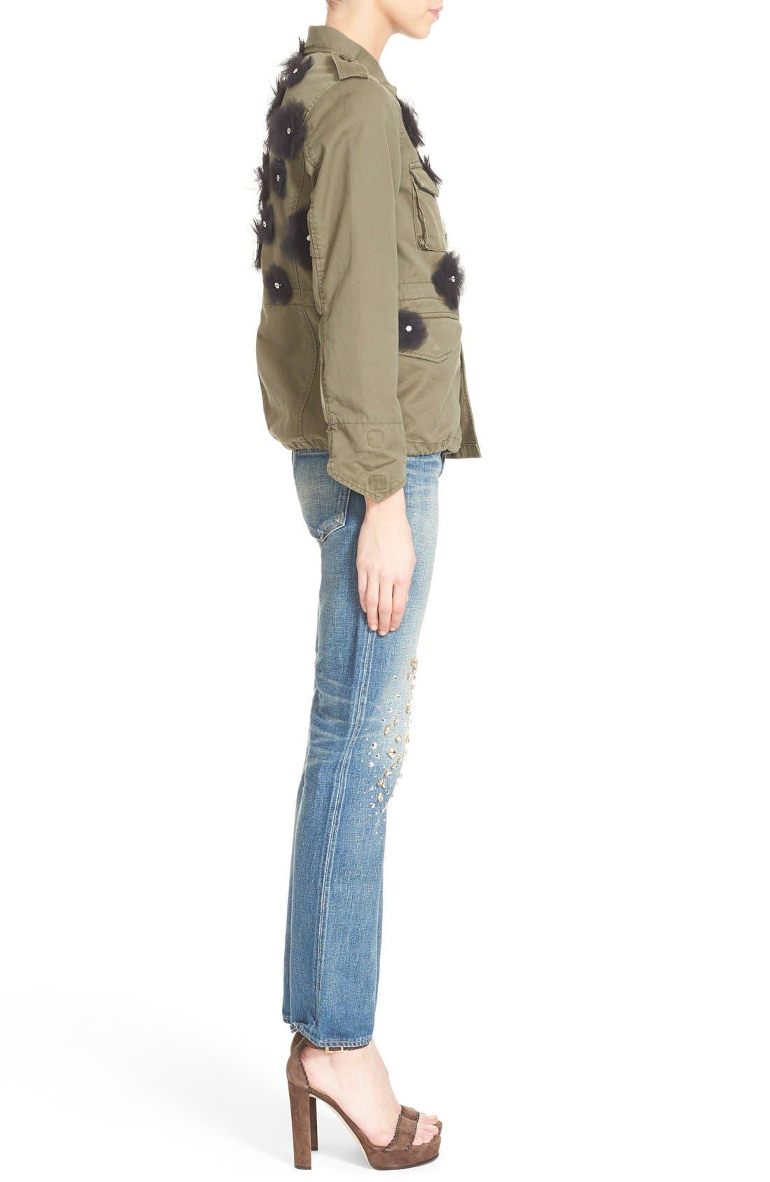 Tulle Flower Military Jacket,                             Alternate thumbnail 3, color,                             250