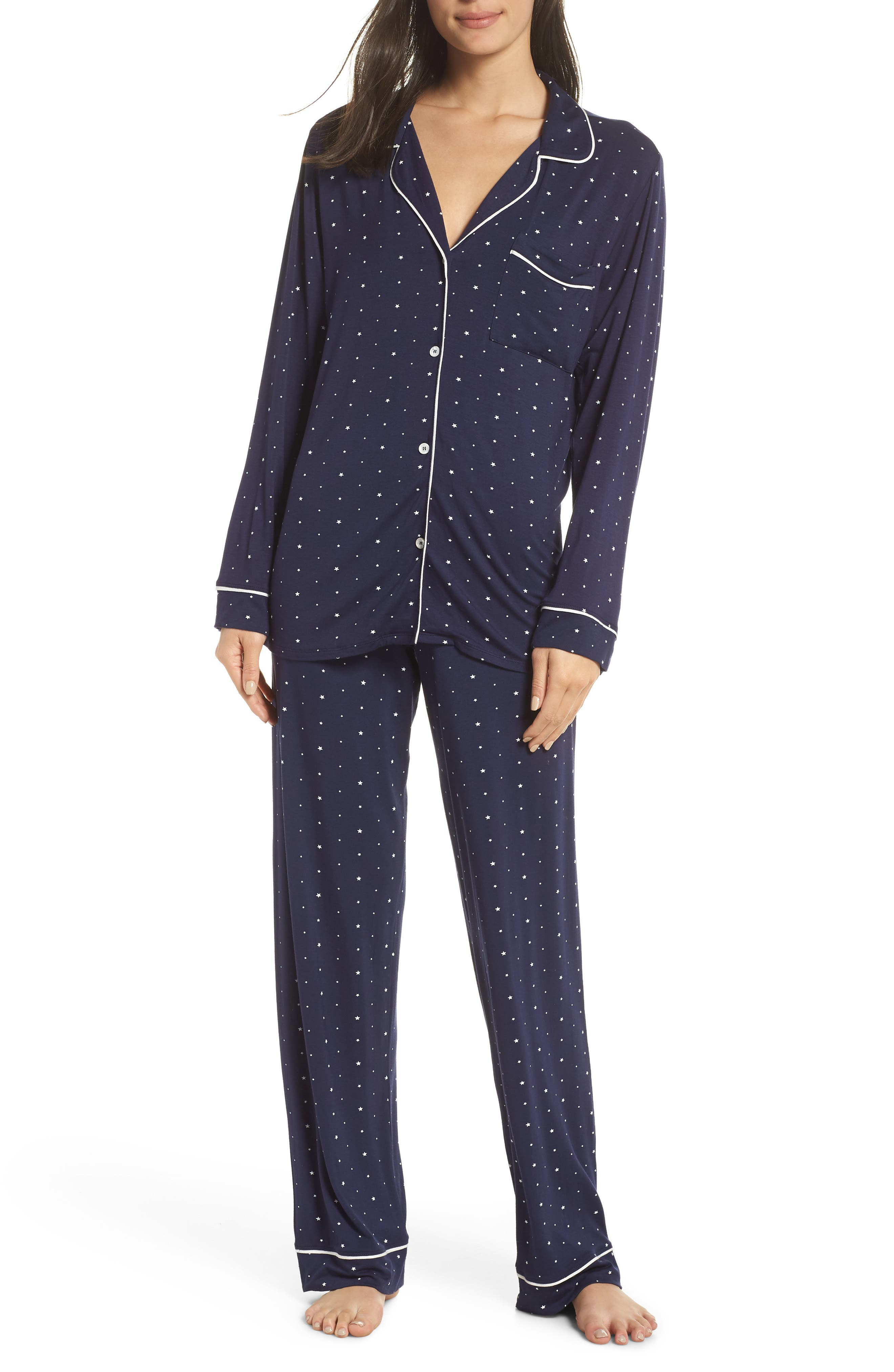 Sleep Chic Printed Stretch-Jersey Pajama Set in Midnight Blue