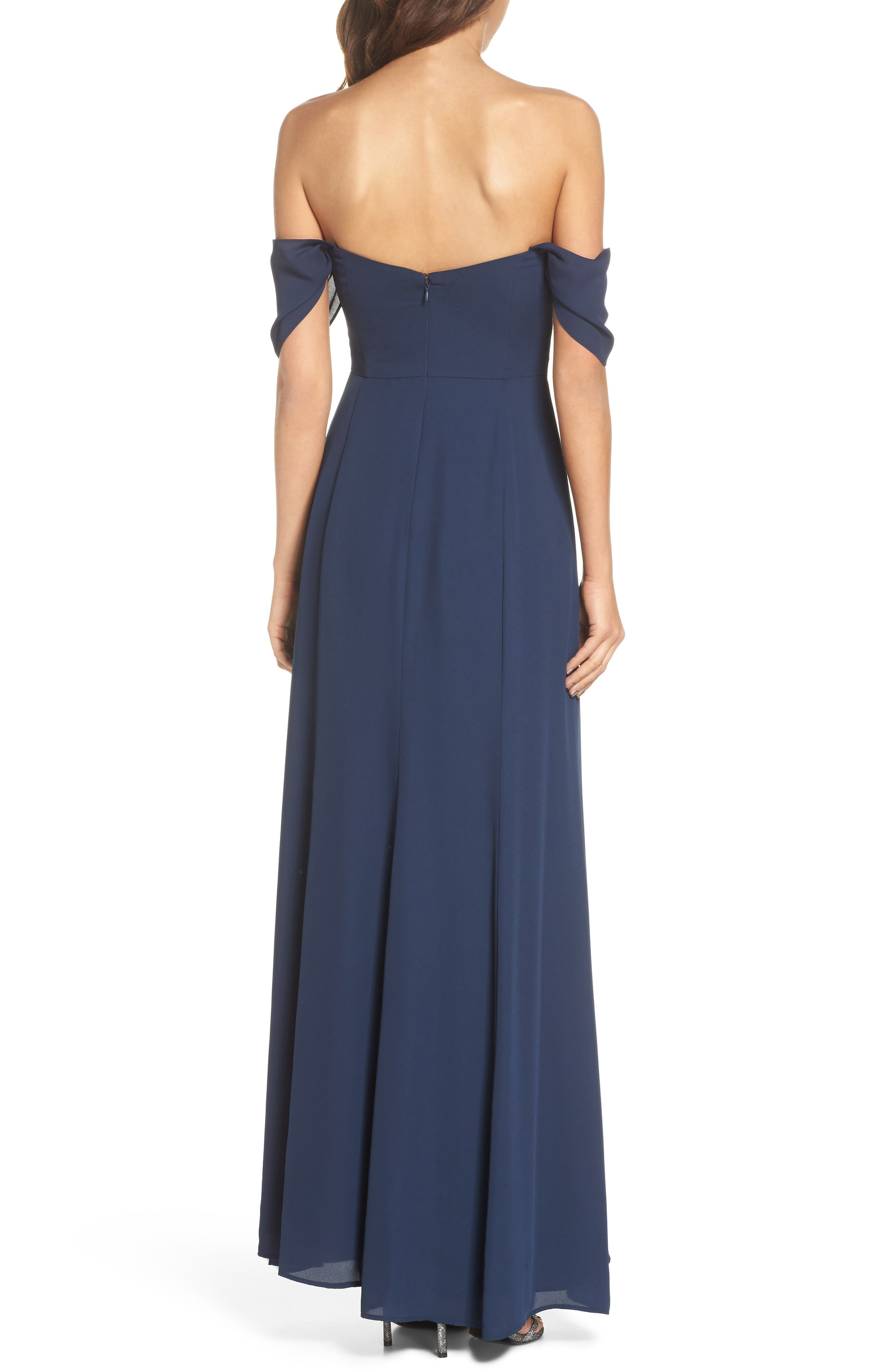Rachel Off the Shoulder Gored Maxi Dress,                             Alternate thumbnail 3, color,