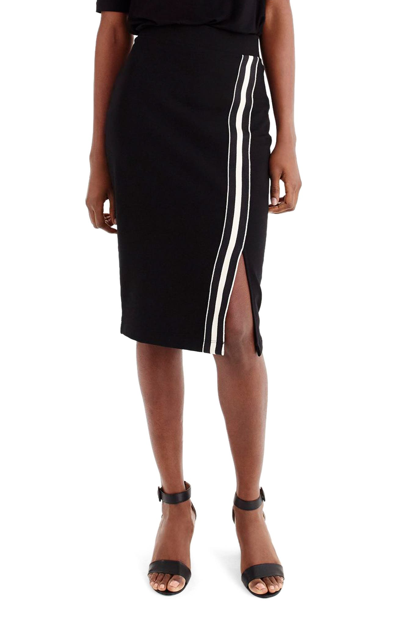 for J.Crew Track Stripe Slit French Terry Skirt,                         Main,                         color, 008