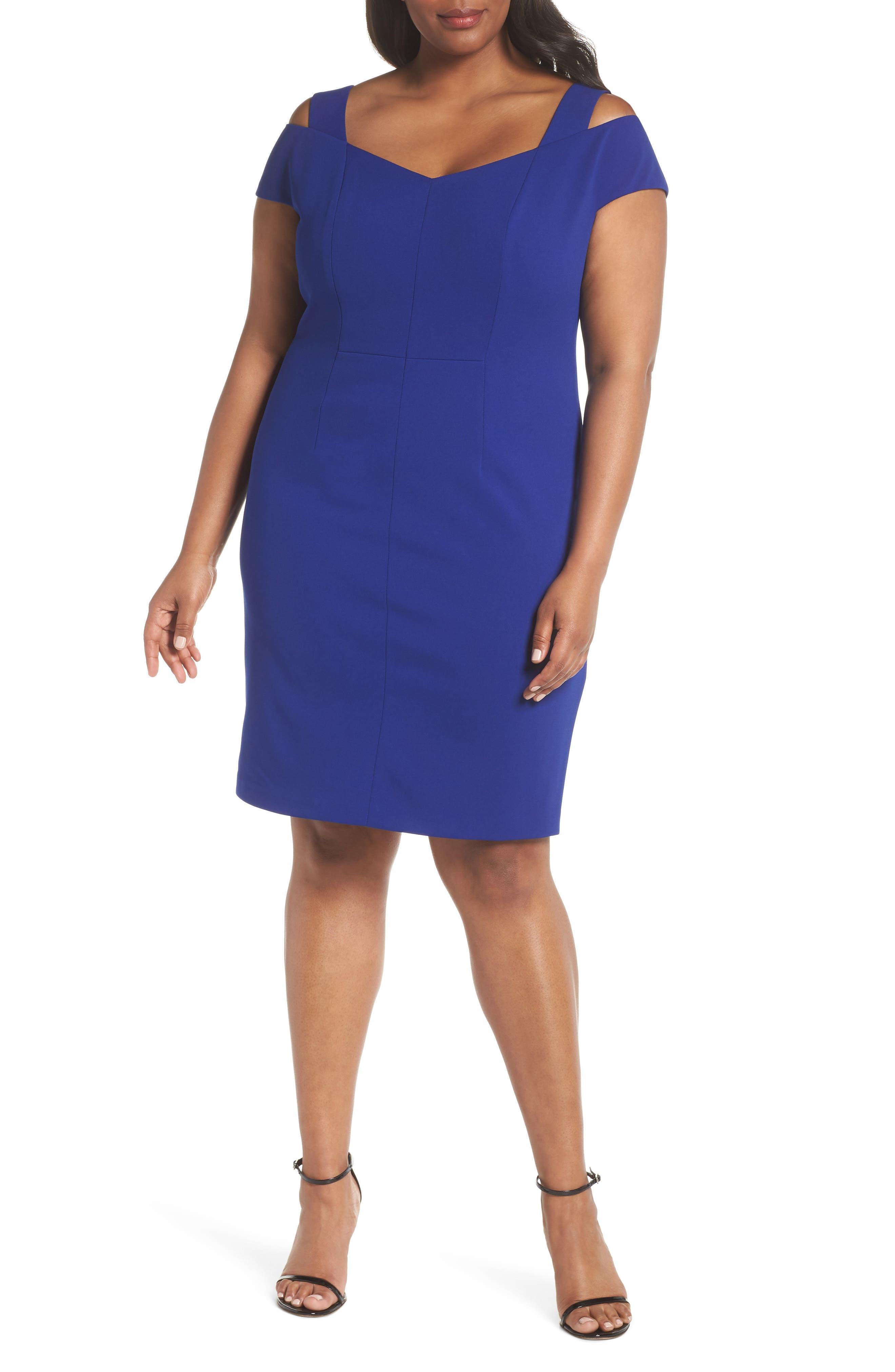 Plus Size Eliza J Cold Shoulder Crepe Sheath Cocktail Dress, Blue