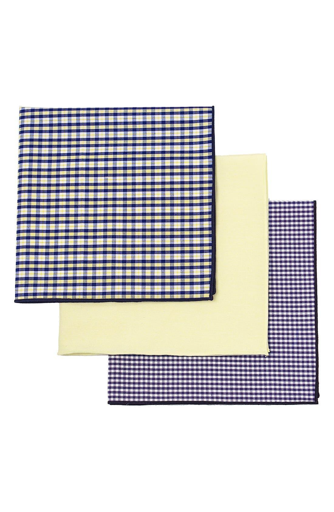 Set of 3 Monogram Pocket Squares,                         Main,                         color, YELLOW - BLANK