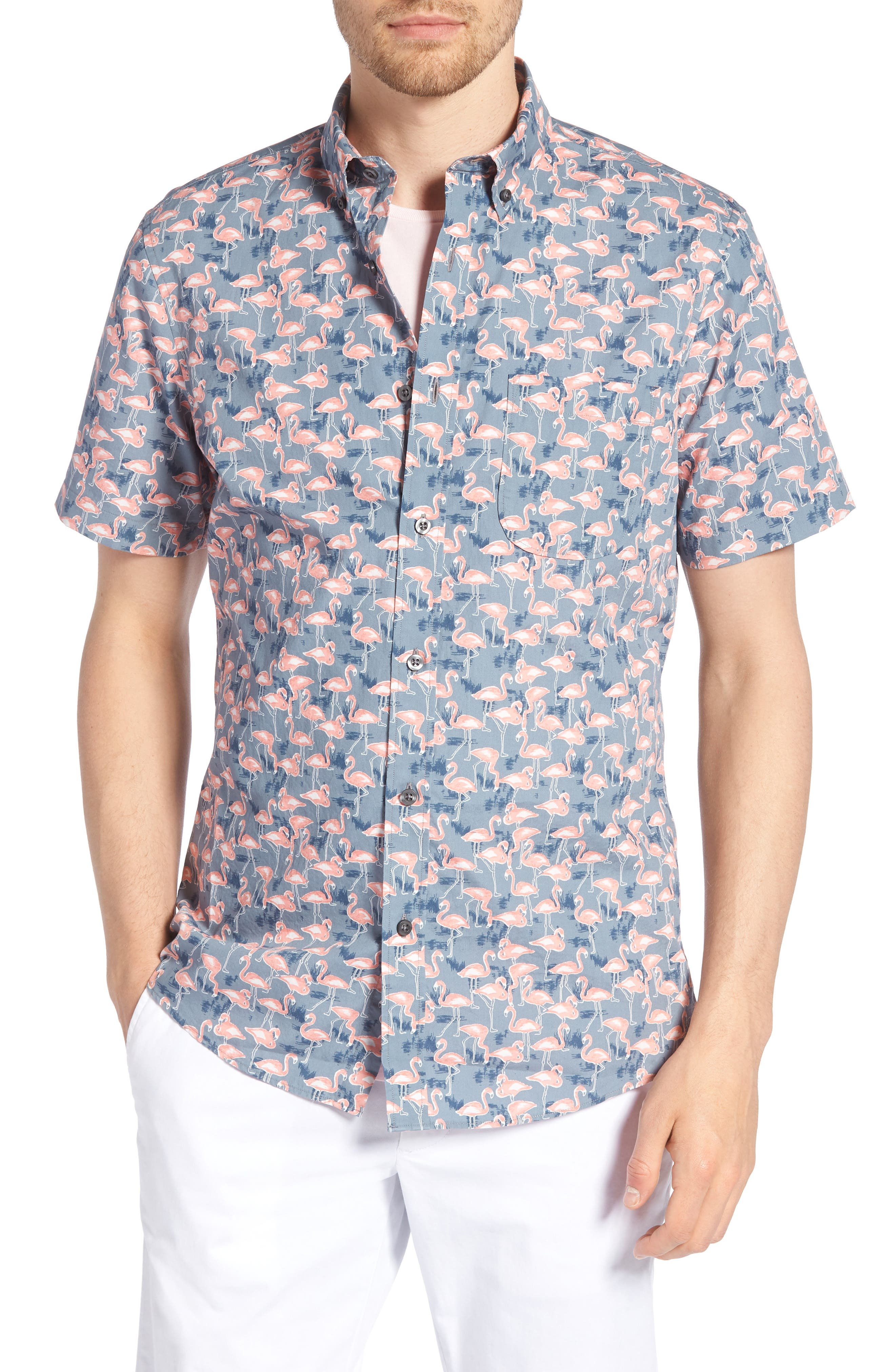 Trim Fit Print Short Sleeve Sport Shirt,                             Main thumbnail 1, color,                             GREY GRISALLE PINK FLAMINGOS