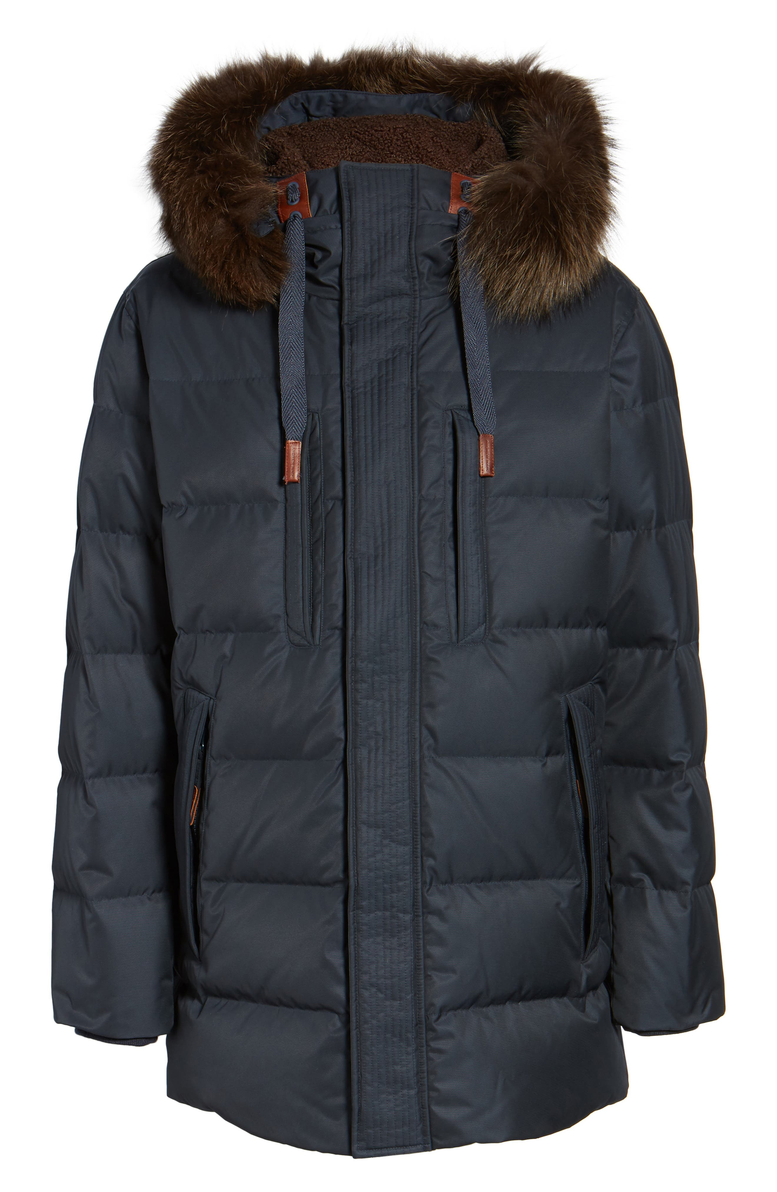 Quilted Down Jacket with Genuine Fox Fur Trim,                             Alternate thumbnail 10, color,