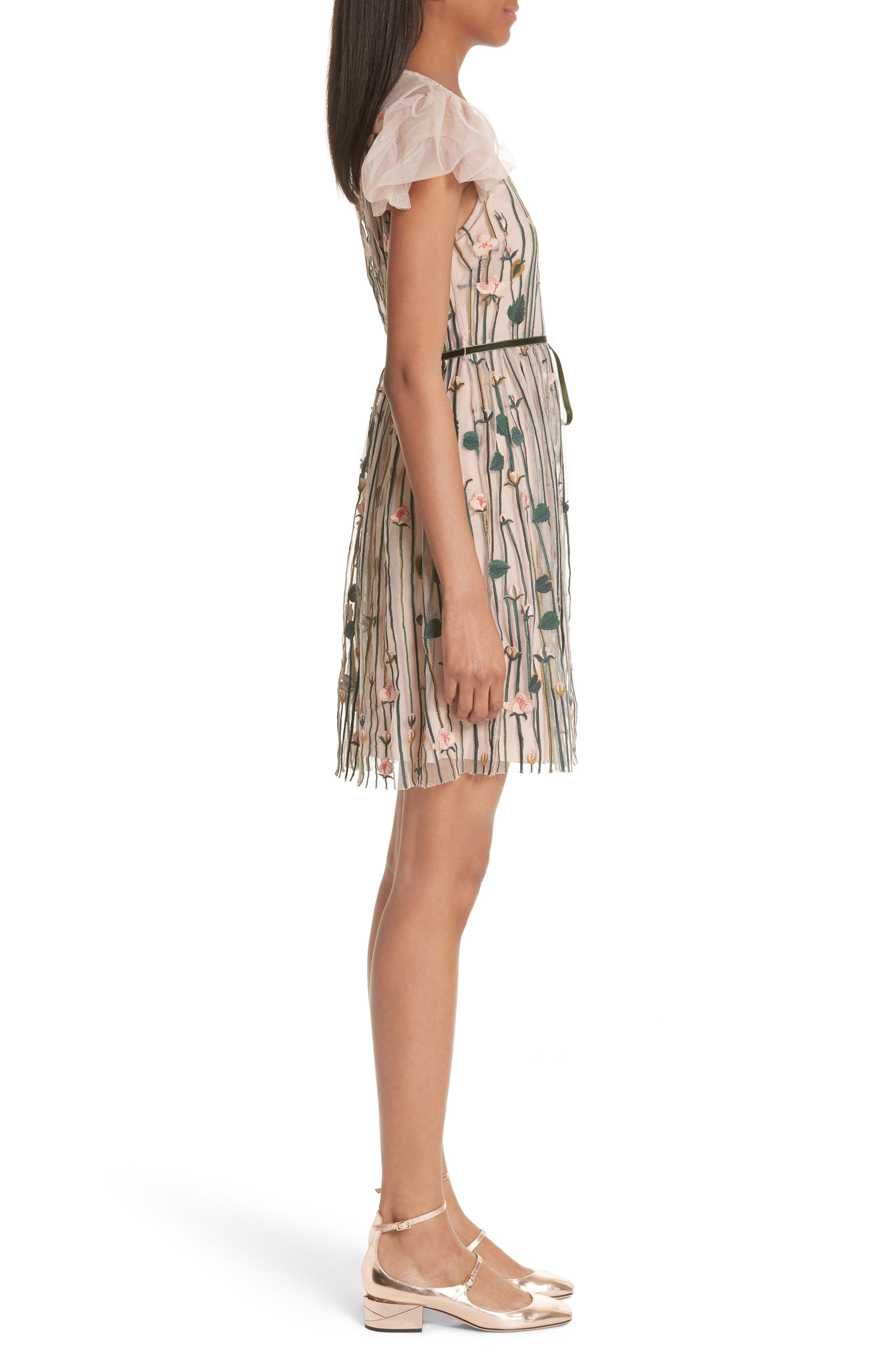 Floral Embroidered Dress,                             Alternate thumbnail 3, color,                             NUDE