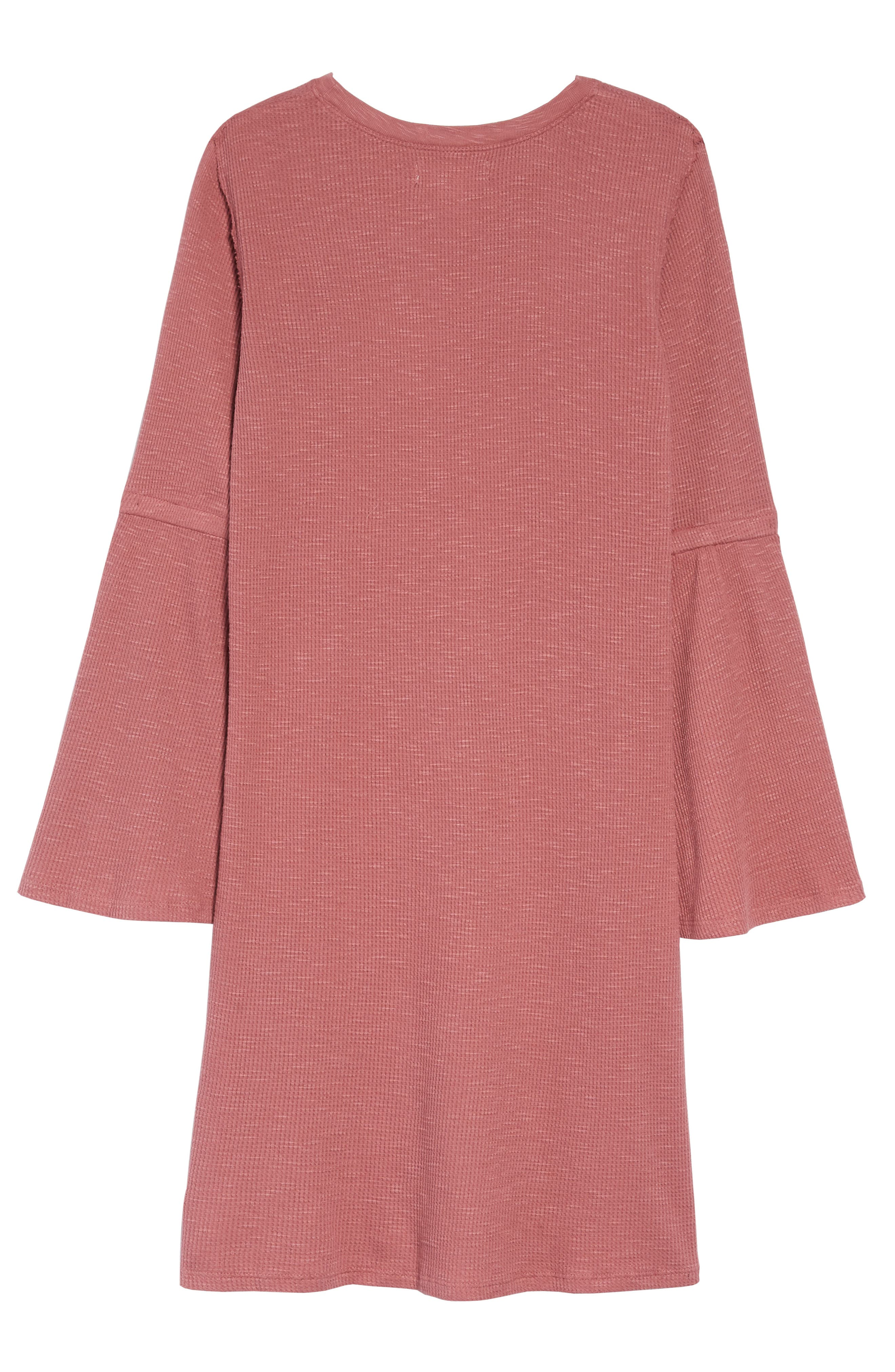 Bell Sleeve Thermal Dress,                             Alternate thumbnail 2, color,                             PINK DECO
