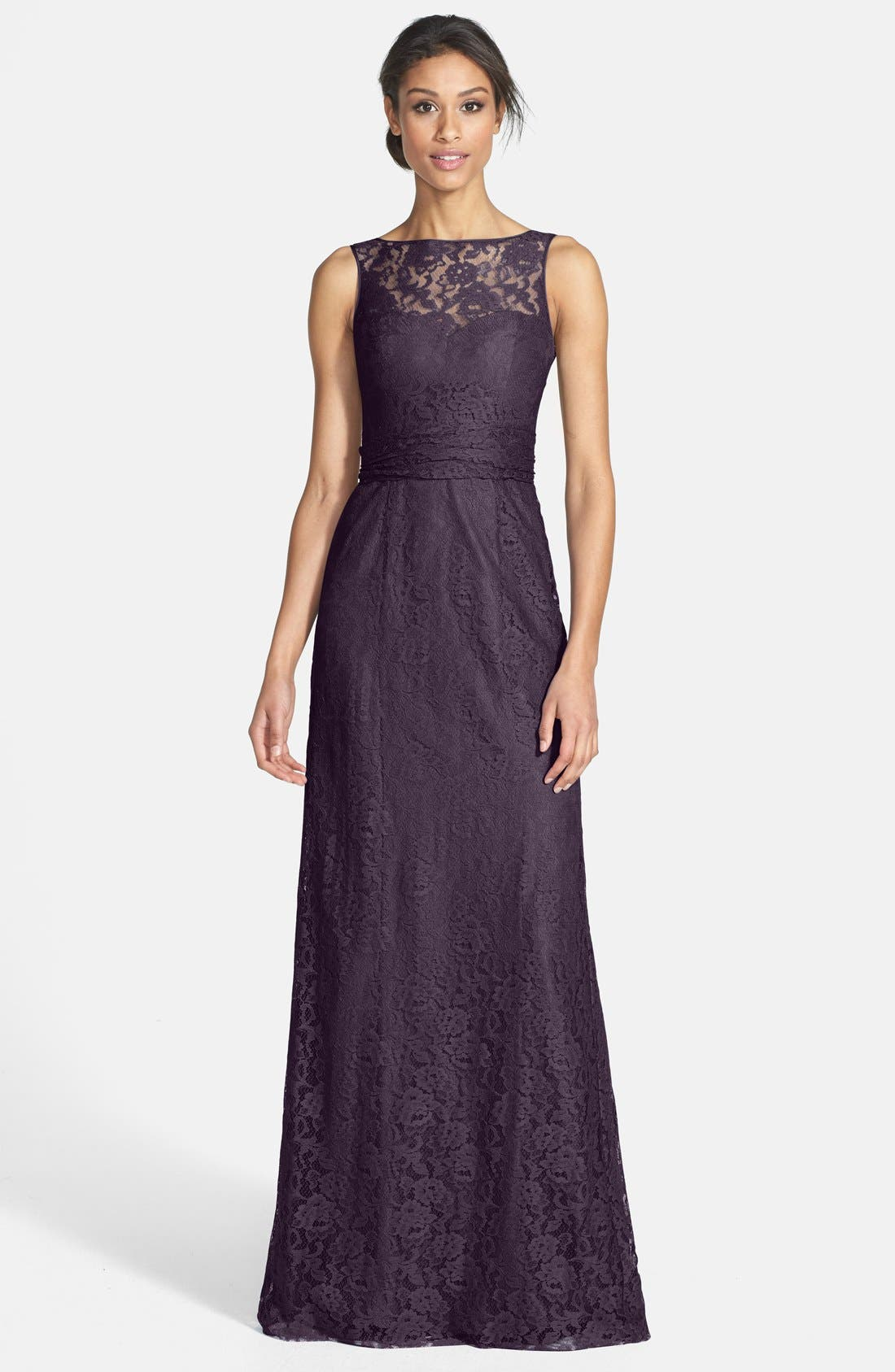 AMSALE Illusion Yoke Lace Gown in Raisin