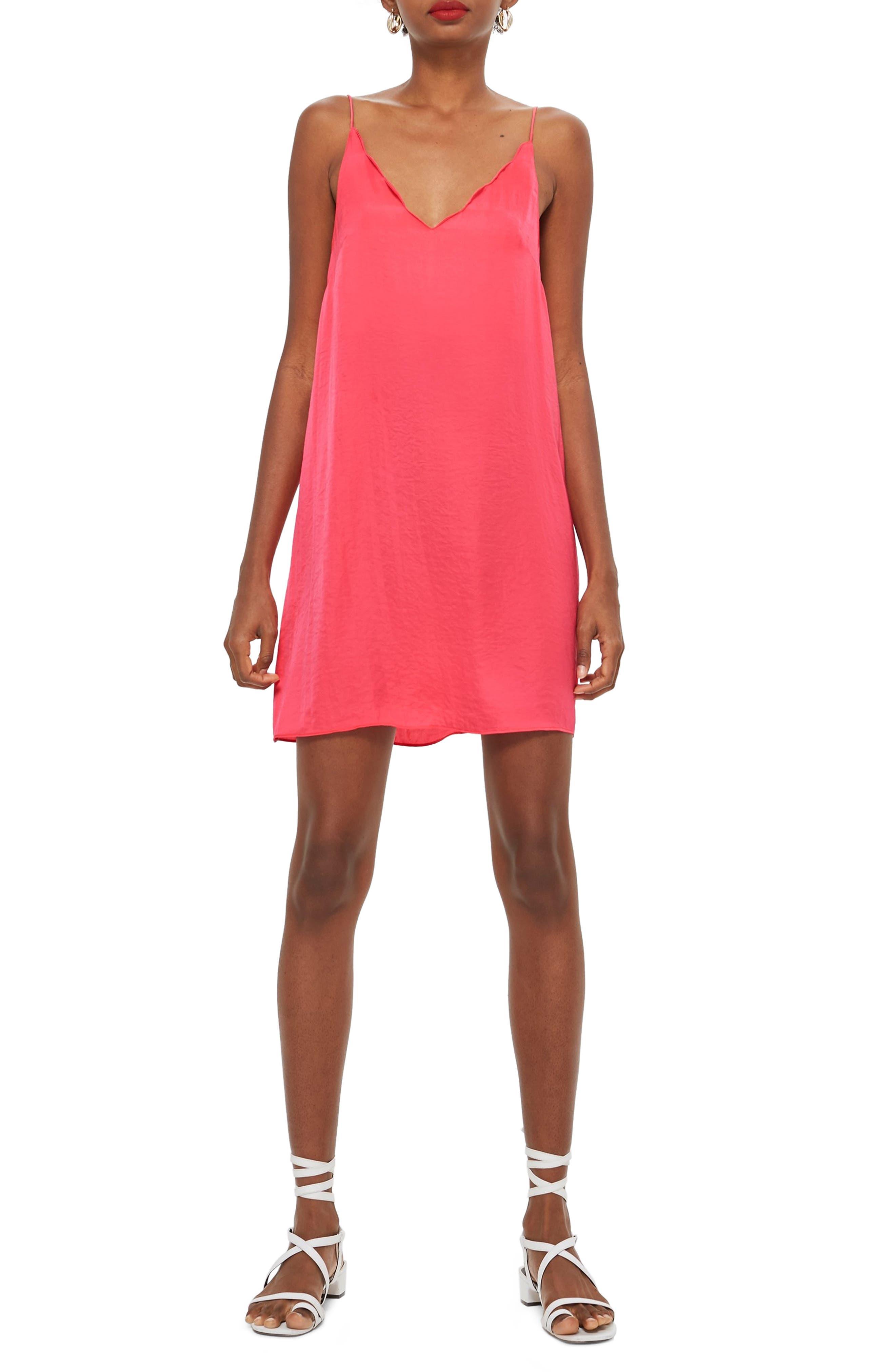 Topshop Scallop Mini Slipdress, US (fits like 0-2) - Pink