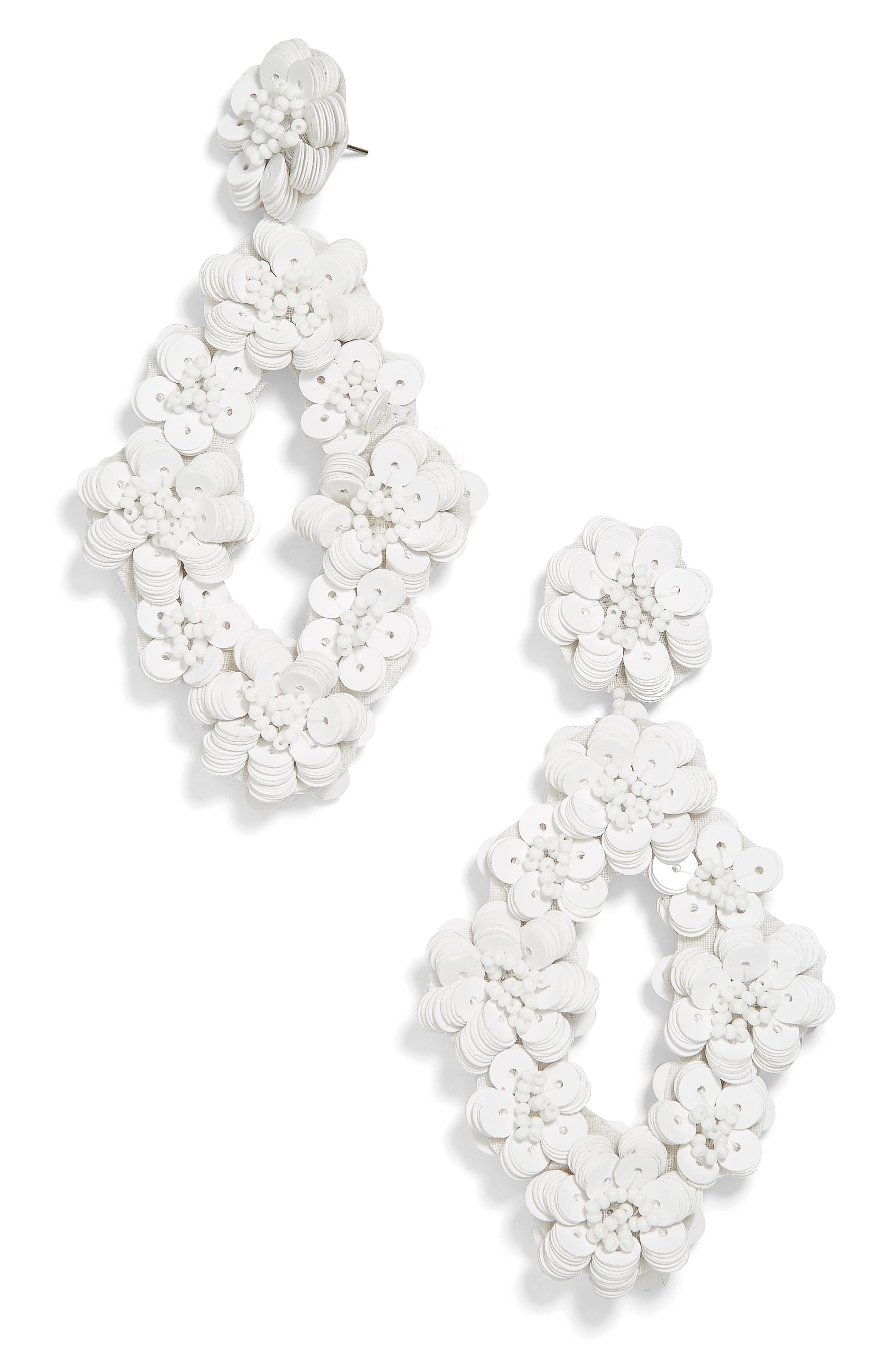 Tulipa Sequin Drop Earrings,                         Main,                         color, WHITE