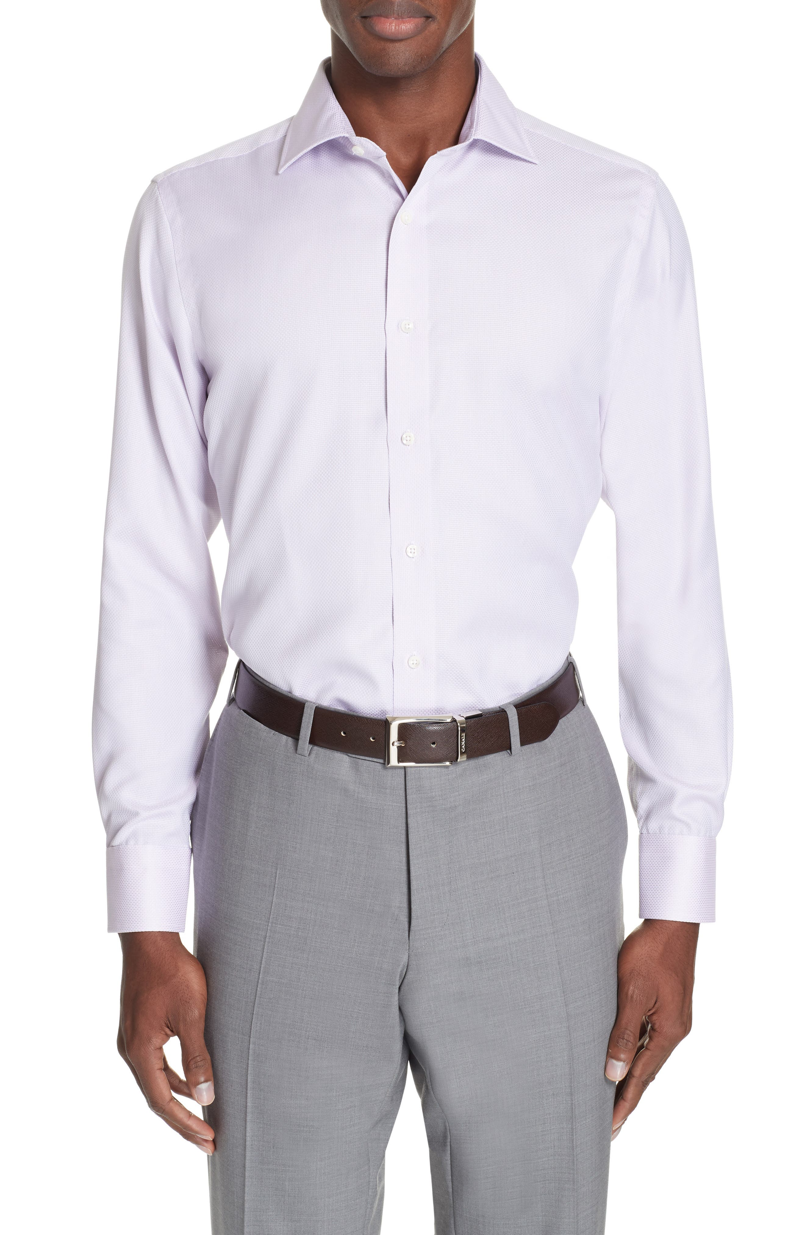 Trim Fit Solid Dress Shirt,                             Main thumbnail 1, color,                             LIGHT PINK