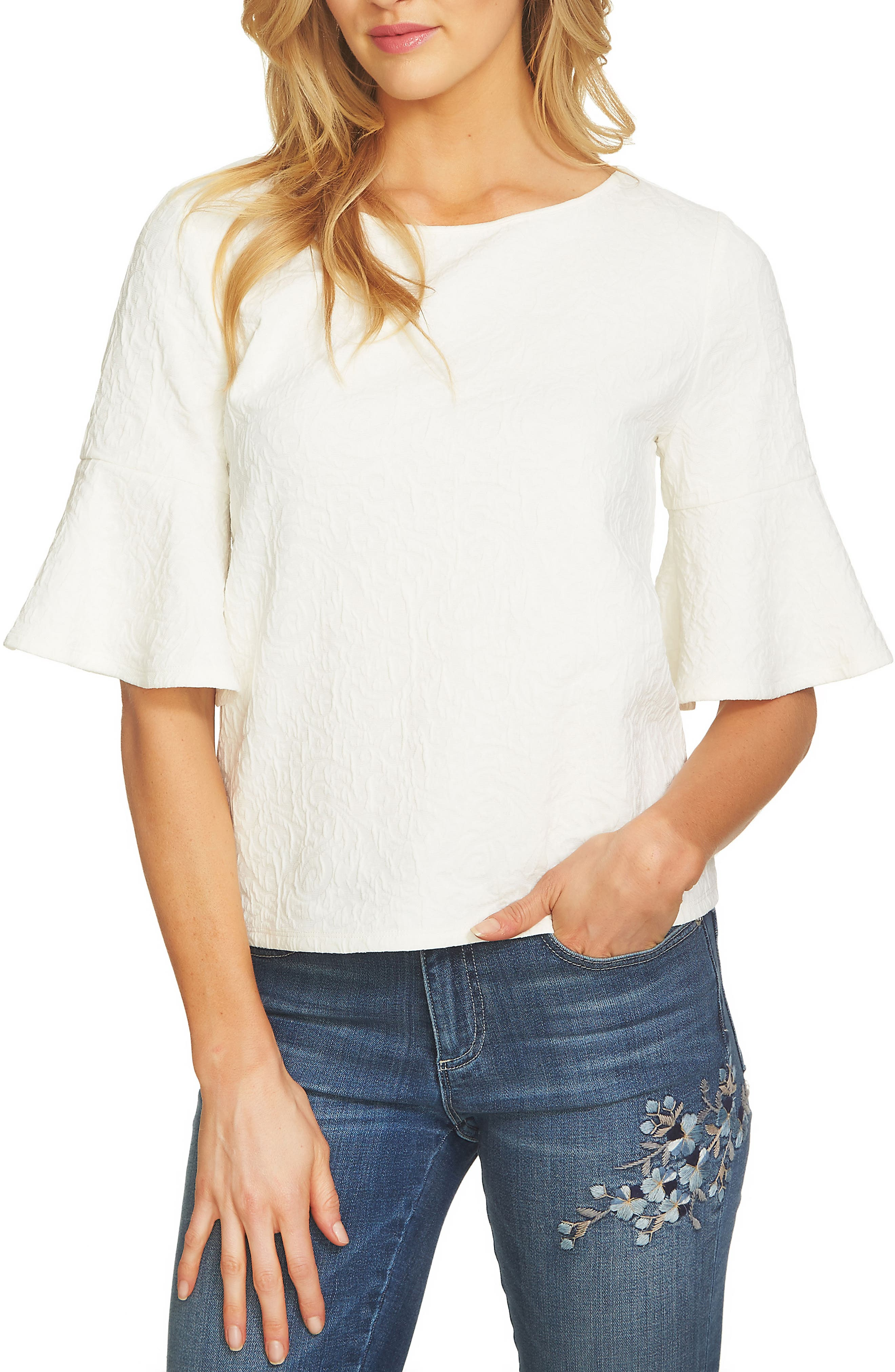 Bell Sleeve Paisley Top,                             Main thumbnail 1, color,                             NEW IVORY