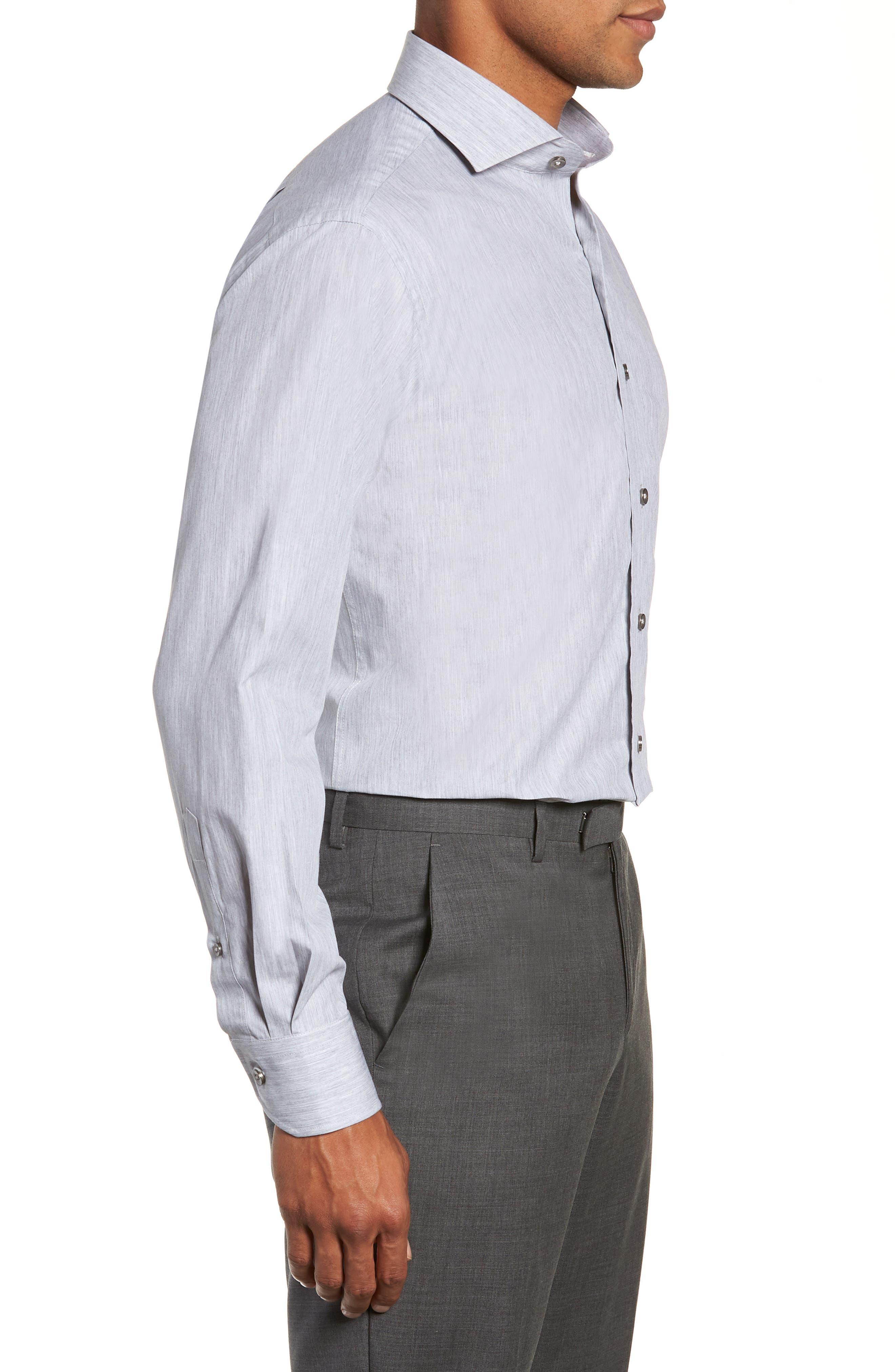 Trim Fit Solid Dress Shirt,                             Alternate thumbnail 4, color,                             050